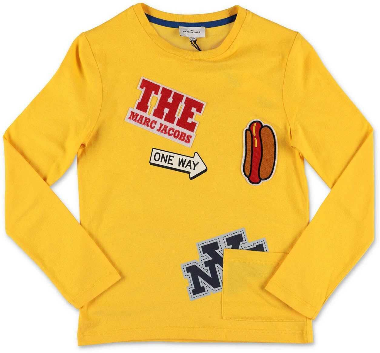 Yellow T-Shirt With Logo Patches