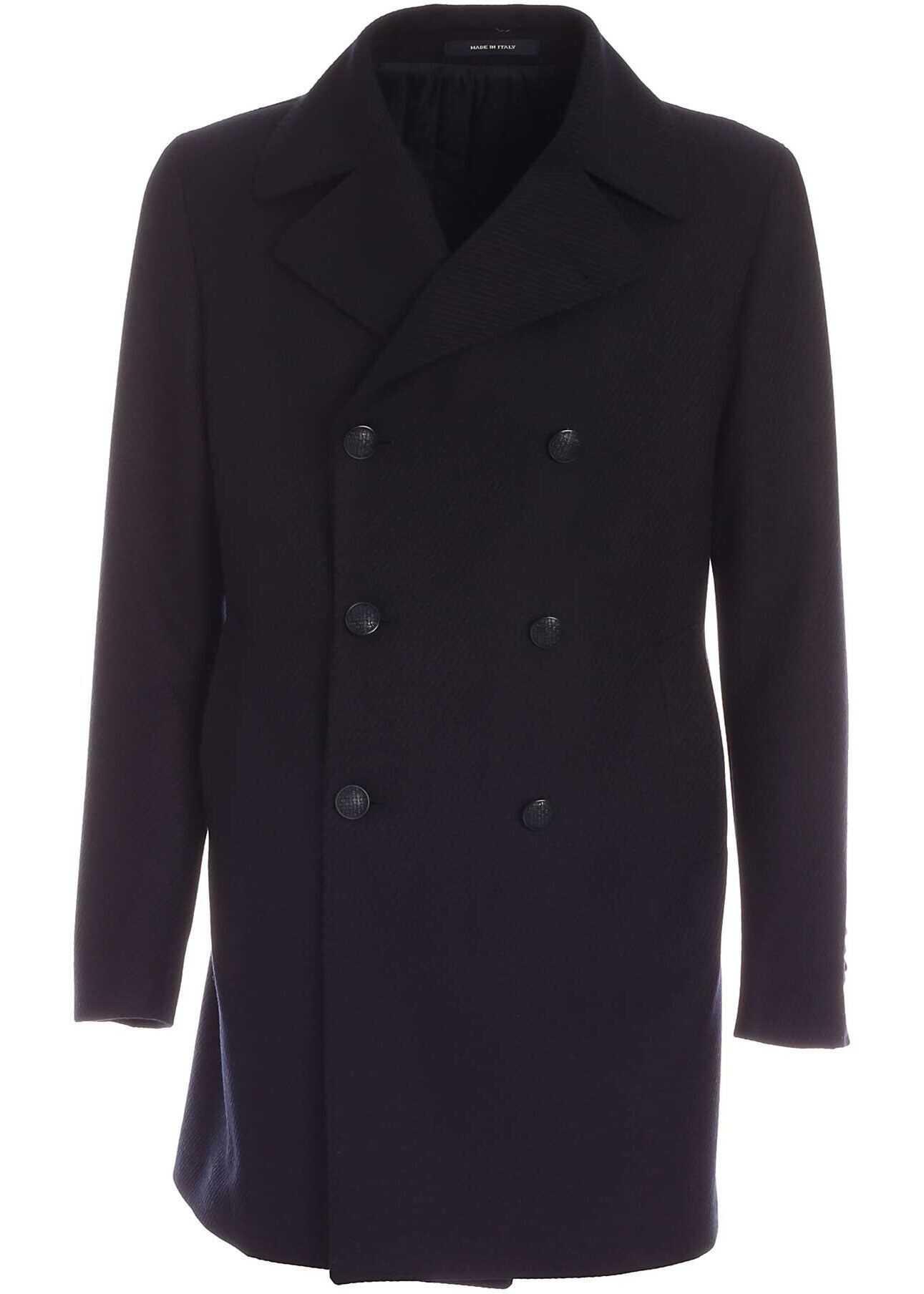 Tagliatore C-Stephan Coat In Navy Blue Black imagine