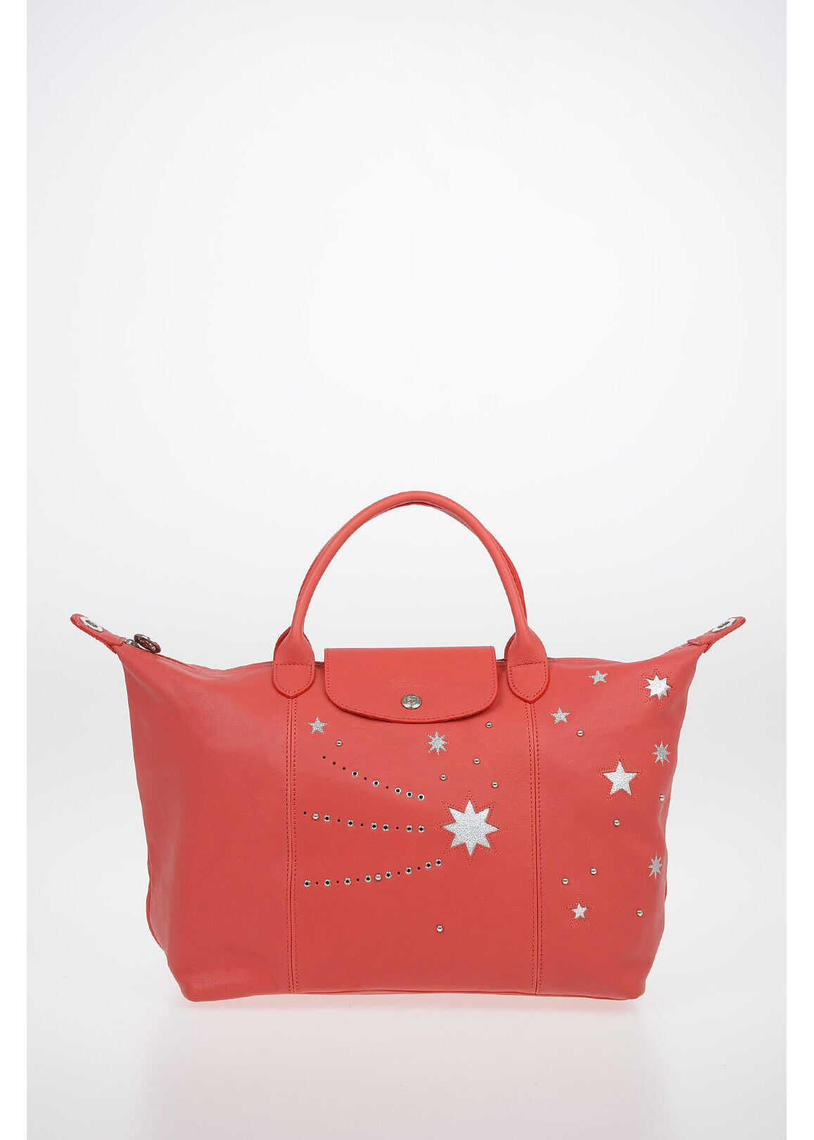 Longchamp Stars Patterned Leather Tote Bag with Removable Shoulder Str RED imagine b-mall.ro