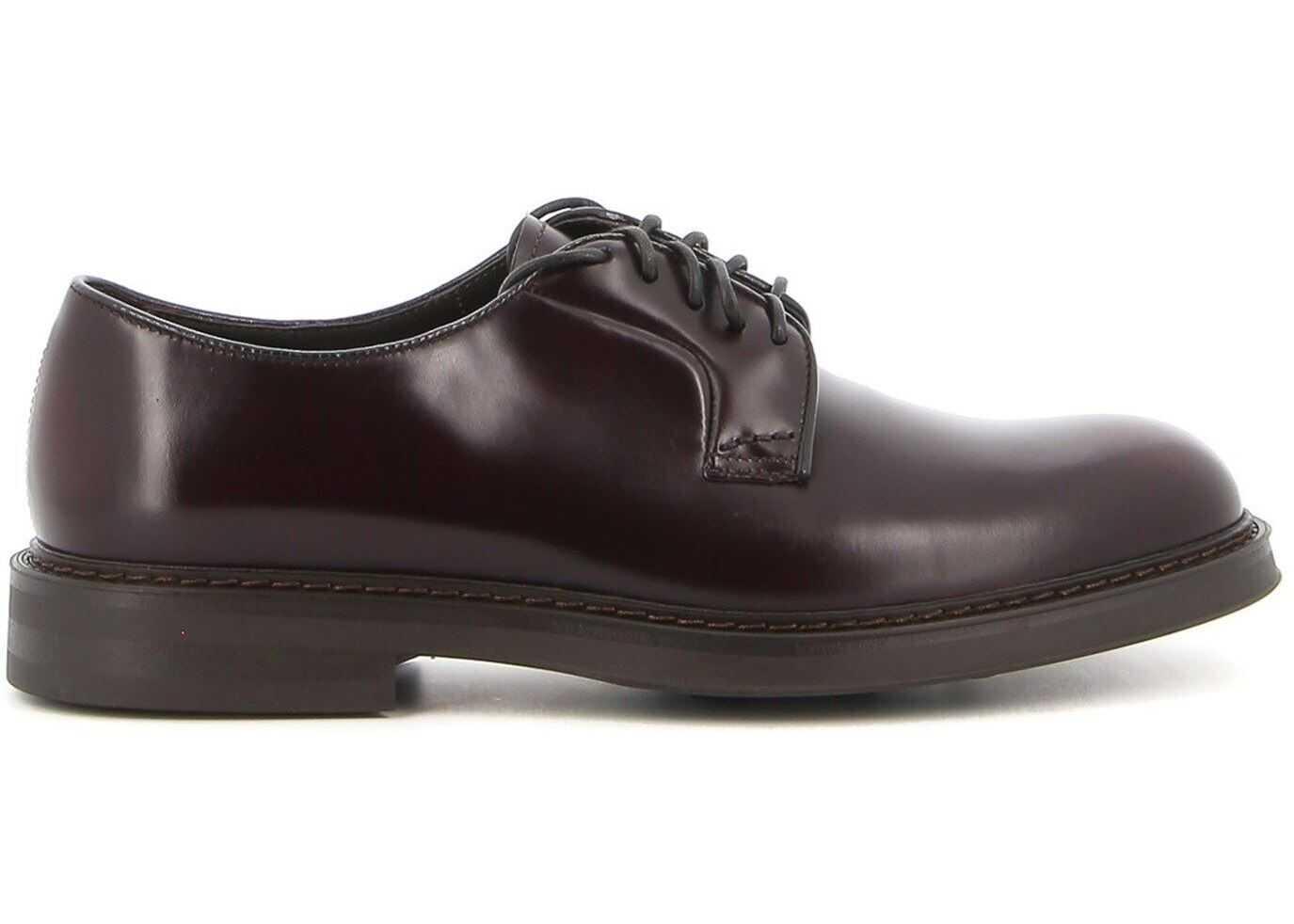 Doucal's Horse Calfskin Derby Shoes DU1385BRUGUF007TL01 Brown imagine b-mall.ro