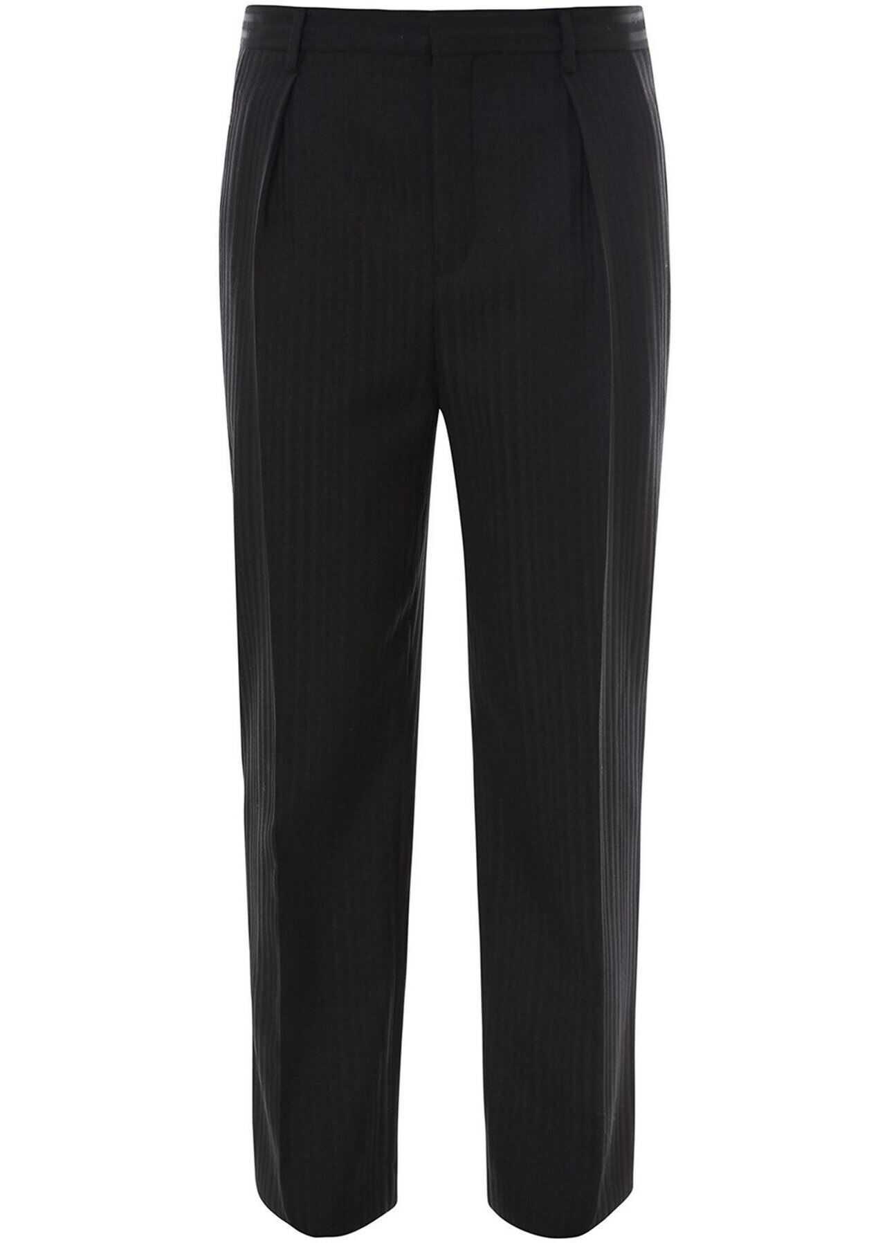 Saint Laurent Raised-Stripe Trousers Black imagine