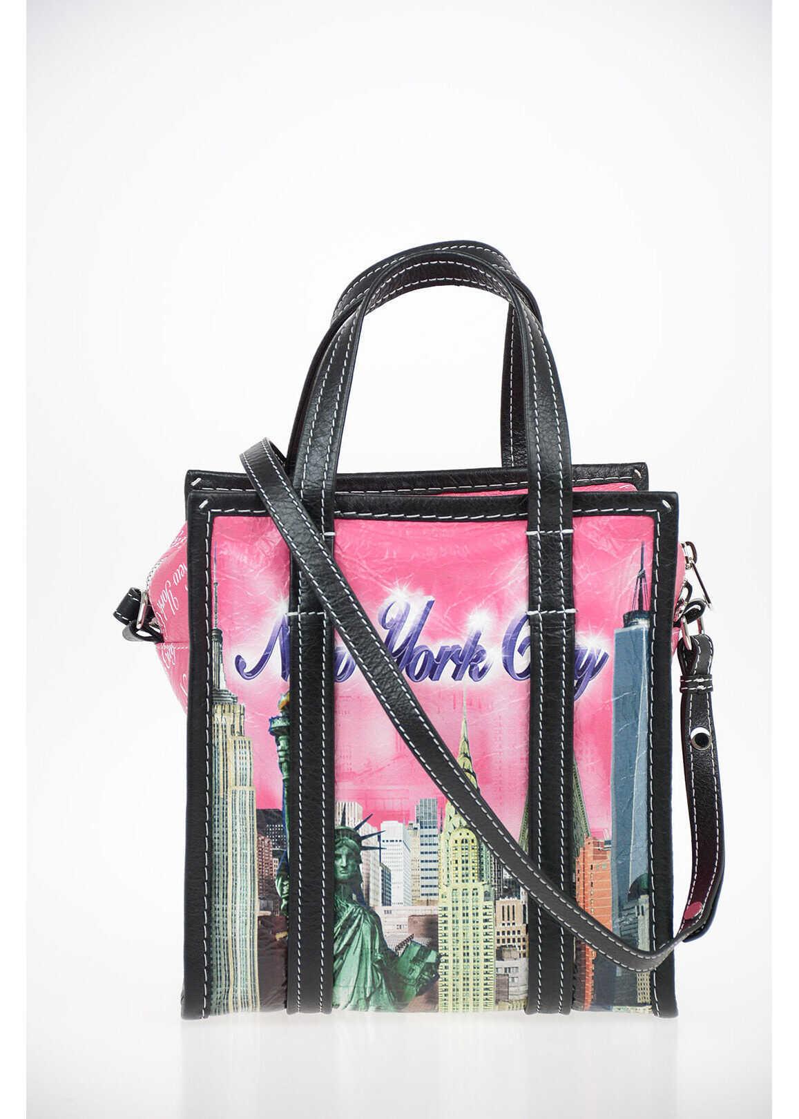 Balenciaga leather BAZAR NEW YORK Shopper bag PINK imagine b-mall.ro
