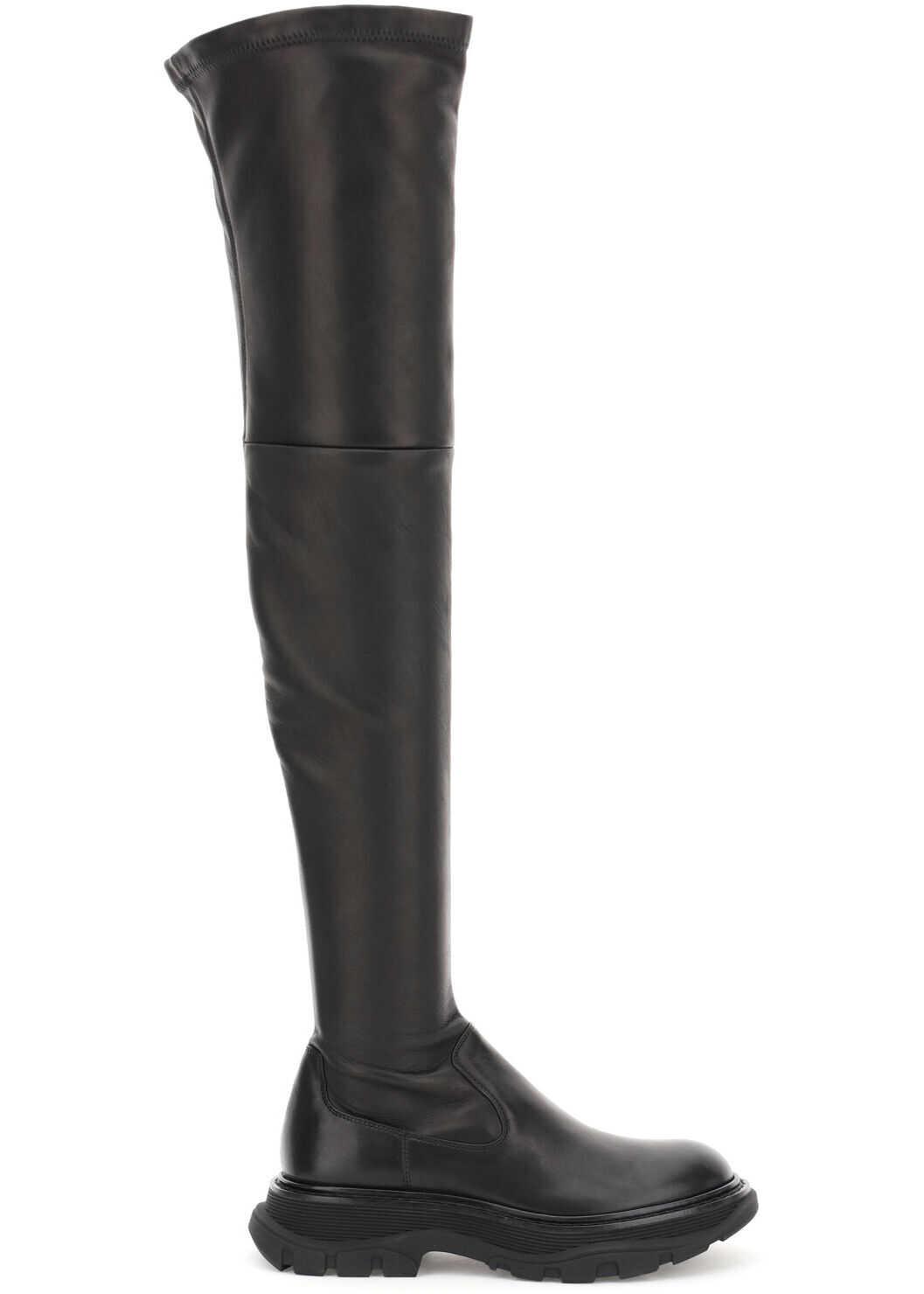 Alexander McQueen Tread Cuissard Boots 641850 WHSS2 BLACK imagine b-mall.ro