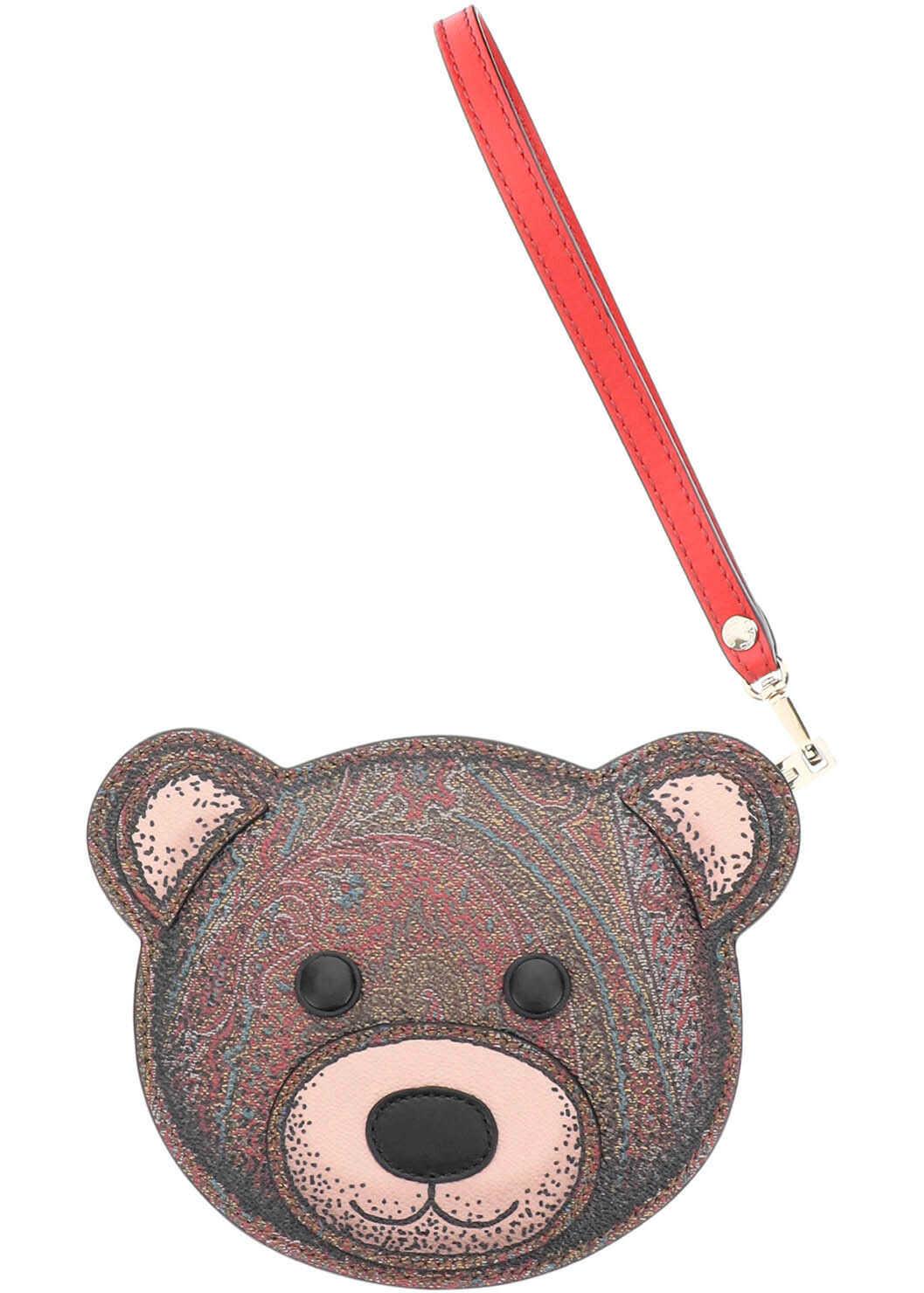 ETRO Twister Toys Teddy Bear Pouch Purse 1N451 2508 ROSSO imagine b-mall.ro