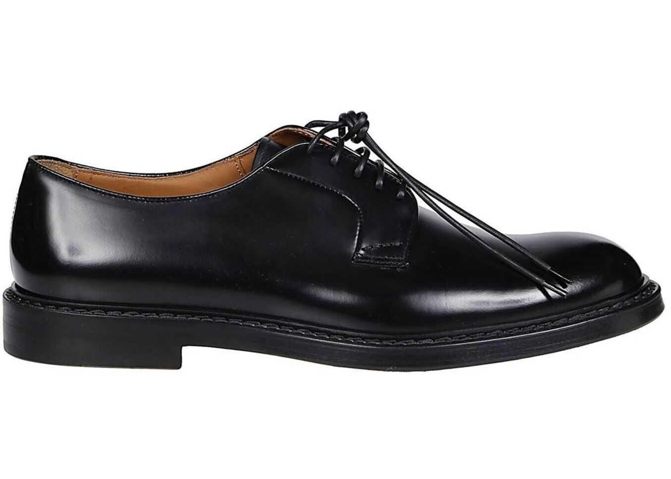 Doucal's Leather Derby Shoes DU1385SAVOUF007NHORSE Black imagine b-mall.ro