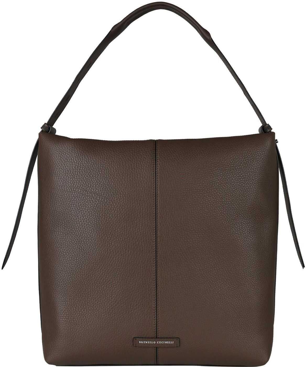 Brunello Cucinelli Leather Shoulder Bag In Brown MBVND2170 C7891 Brown imagine b-mall.ro