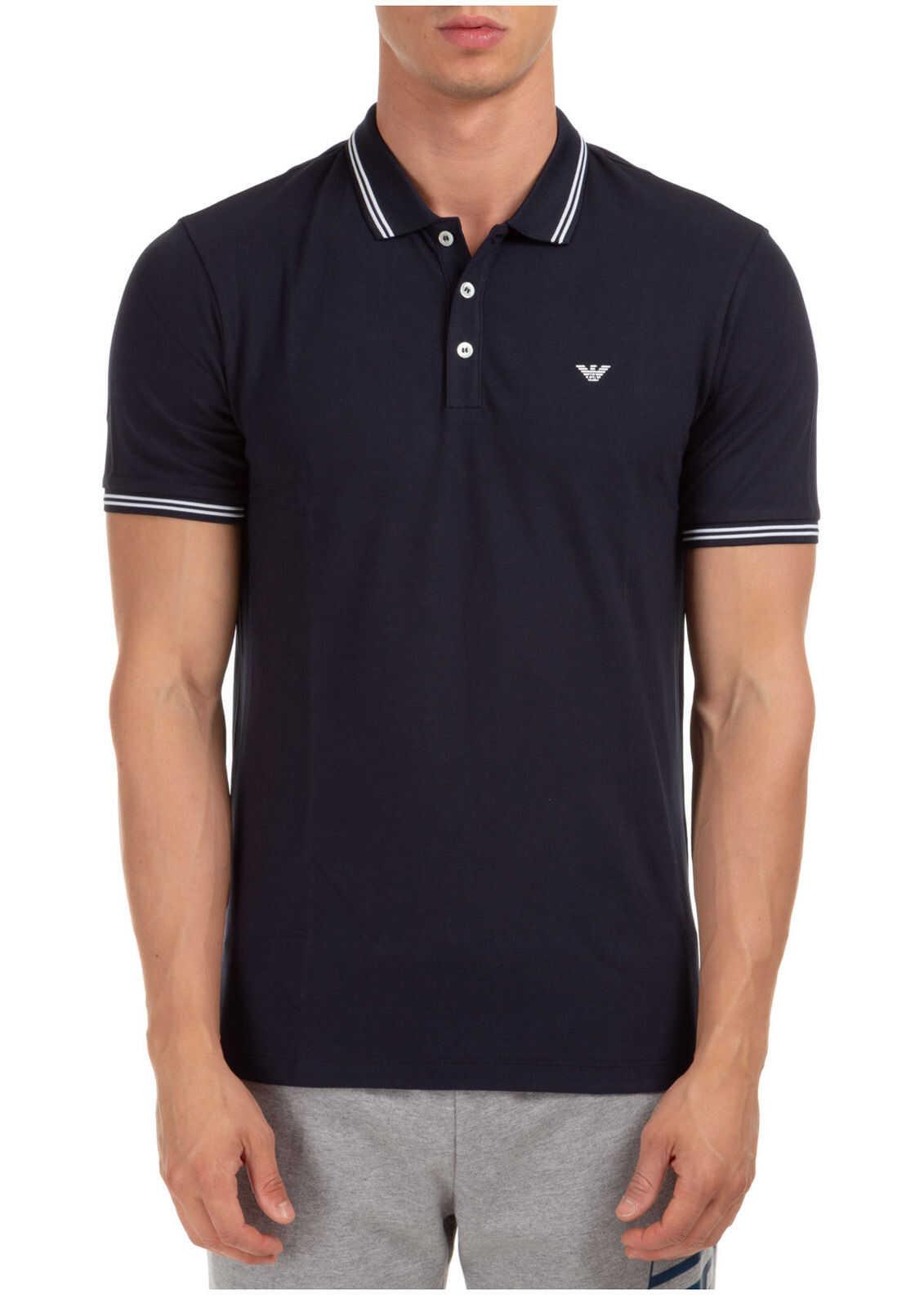 Emporio Armani Polo Collar Blue imagine