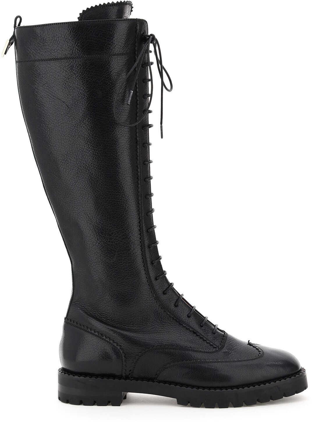 L'Autre Chose Leather Lace-Up Boots LDM020 30GG2466 BLACK imagine b-mall.ro