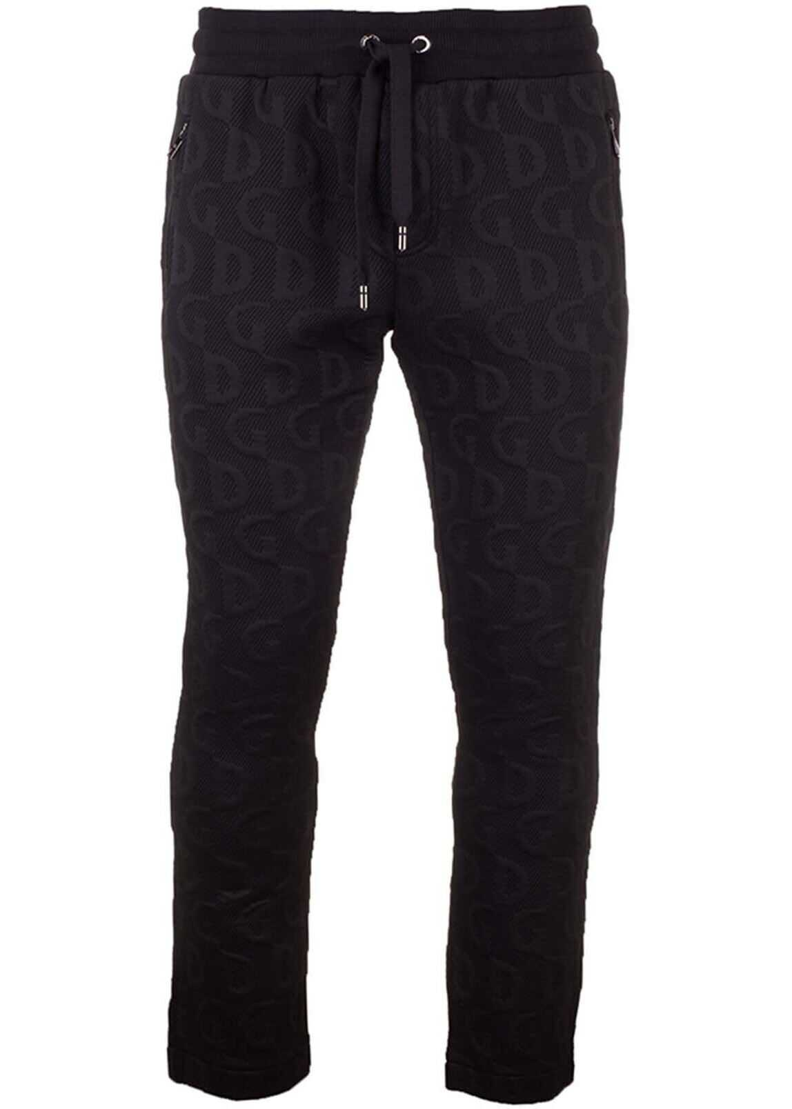 Dolce & Gabbana Monogram Sweat Pants In Black Black imagine