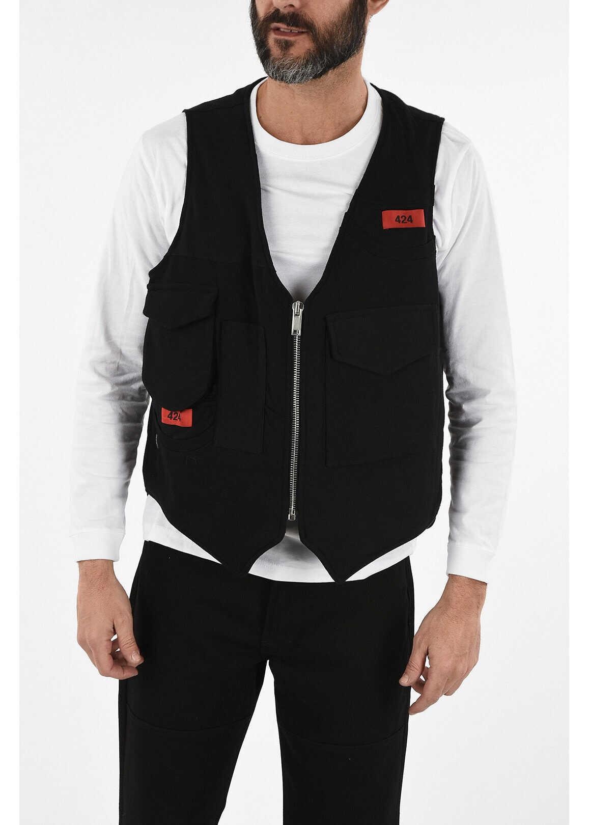 424 Cotton Utility Vest BLACK imagine
