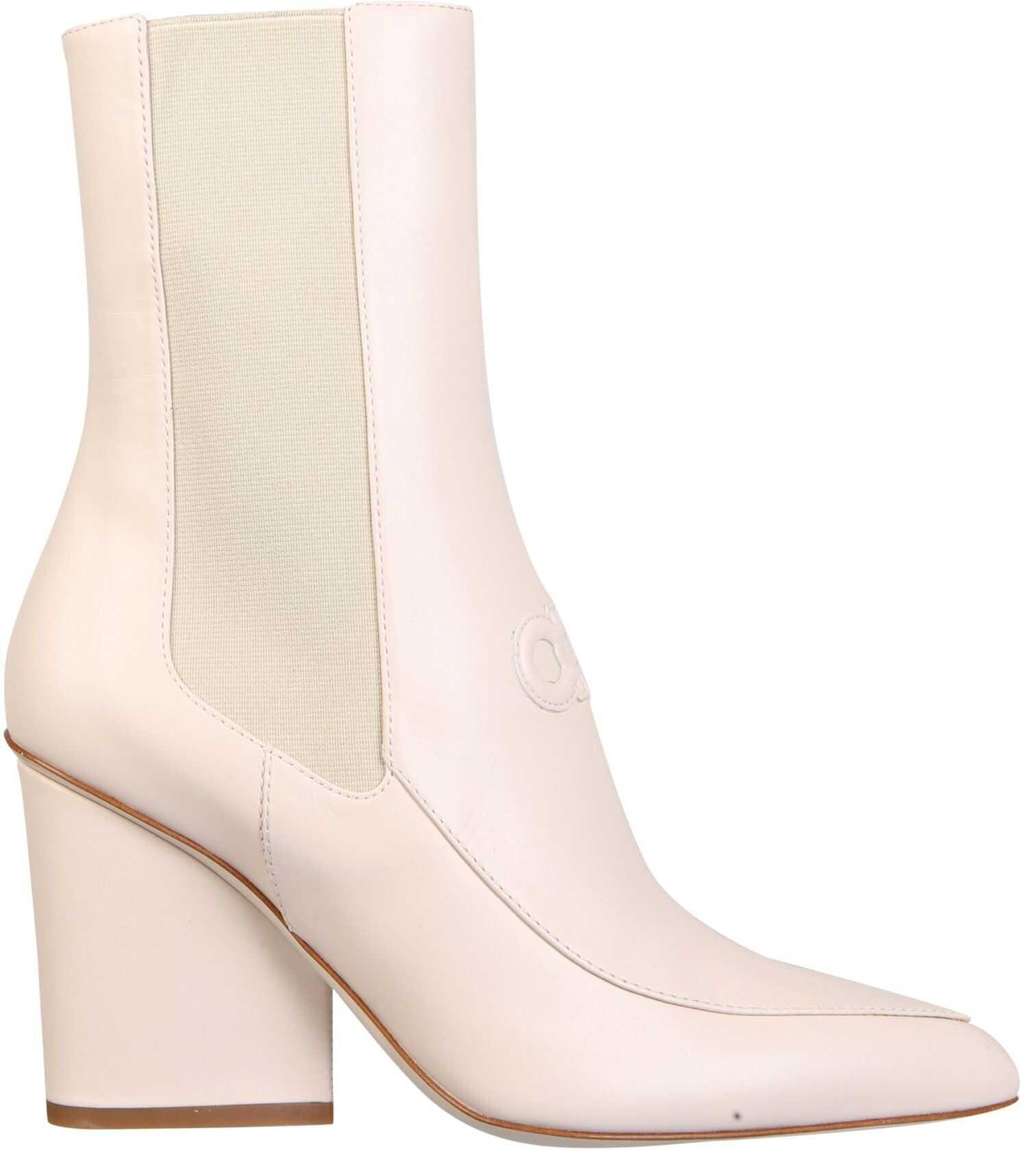 """Salvatore Ferragamo """"Marineo"""" Boots 732737_01R430BONE WHITE imagine b-mall.ro"""