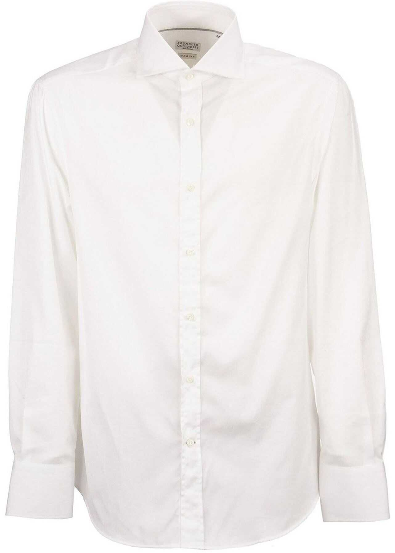 Brunello Cucinelli Poplin Shirt White imagine