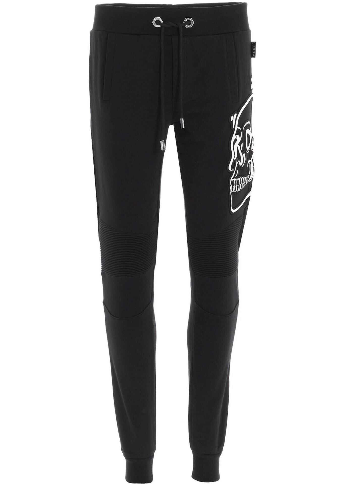 Philipp Plein Skull Jogging Pants In Black And White Black imagine