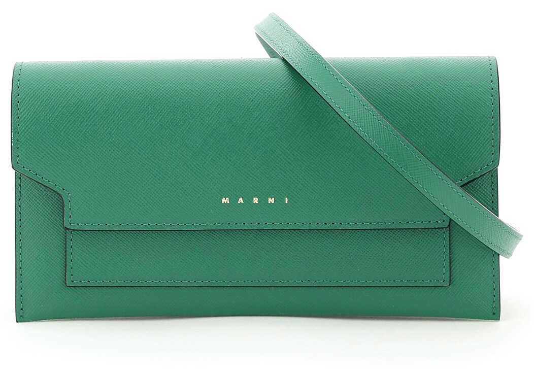 Marni Mini Bag Wallet With Shoulder Strap PFMOT08U07LV520 EMERALD LIGHT CAMEL imagine b-mall.ro