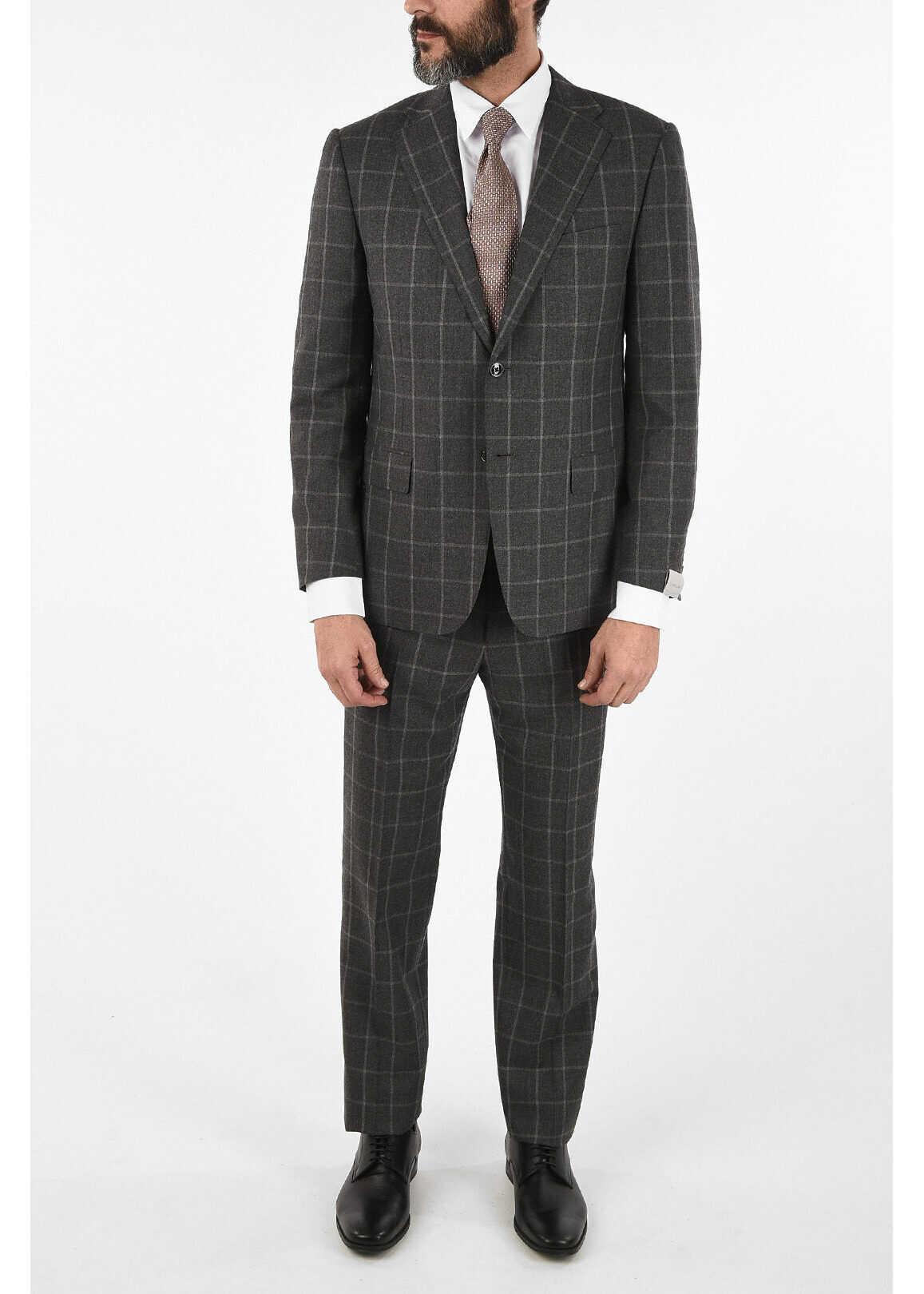 CORNELIANI windowpane check wool and cashmere drop 6R 2-button MANTUA s GRAY imagine