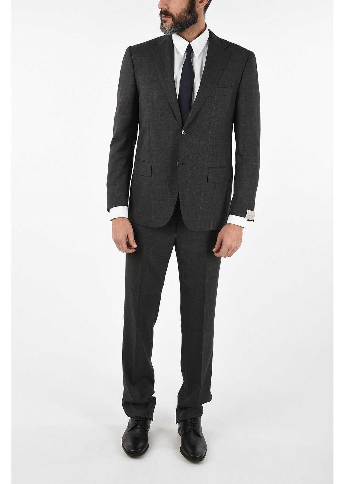 CORNELIANI side vent windowpane check drop 6R 2-button MANTUA suit GRAY imagine