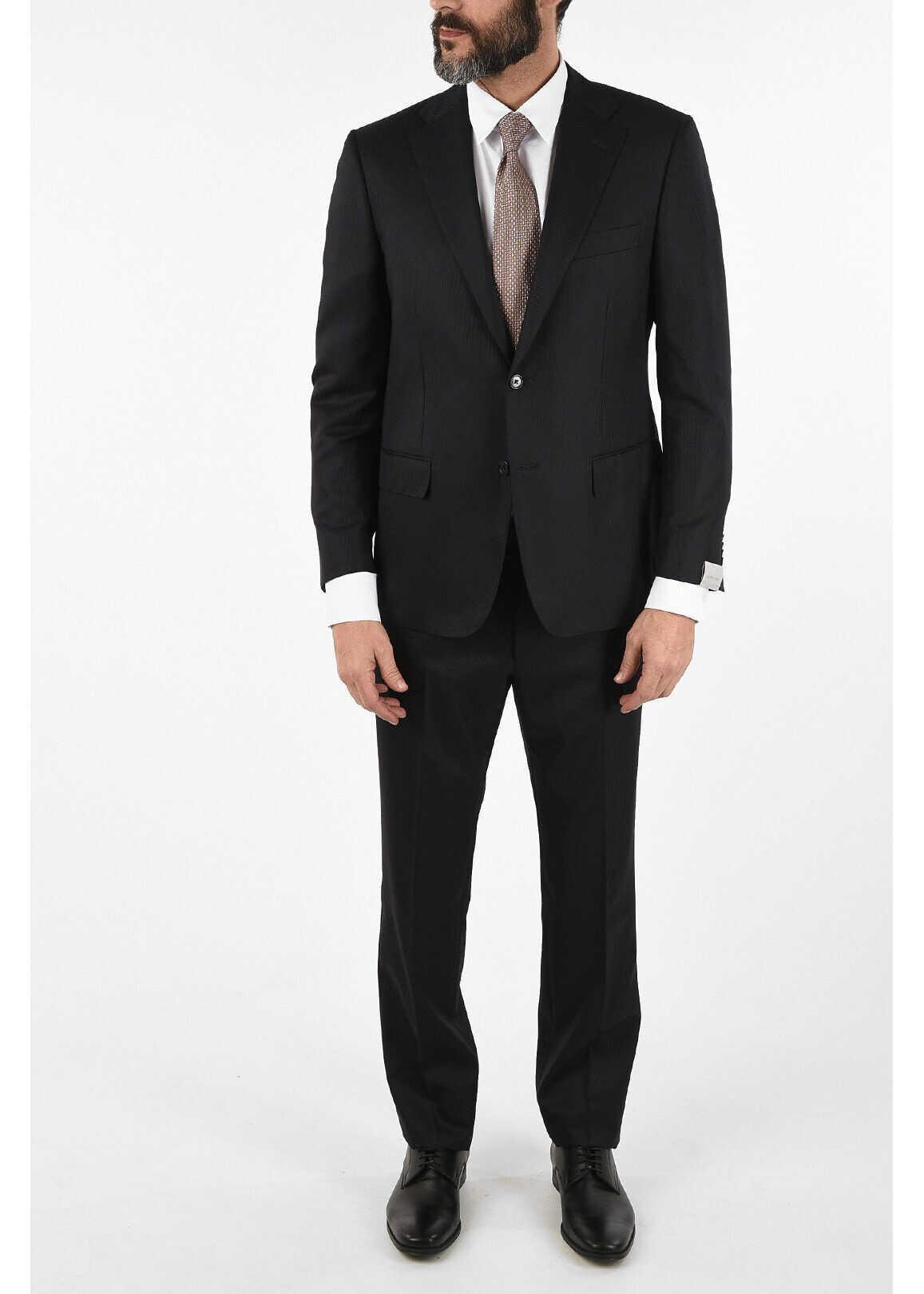 CORNELIANI side vent hairline striped drop 6R 2-button MANTUA suit MIDNIGHT BLUE imagine