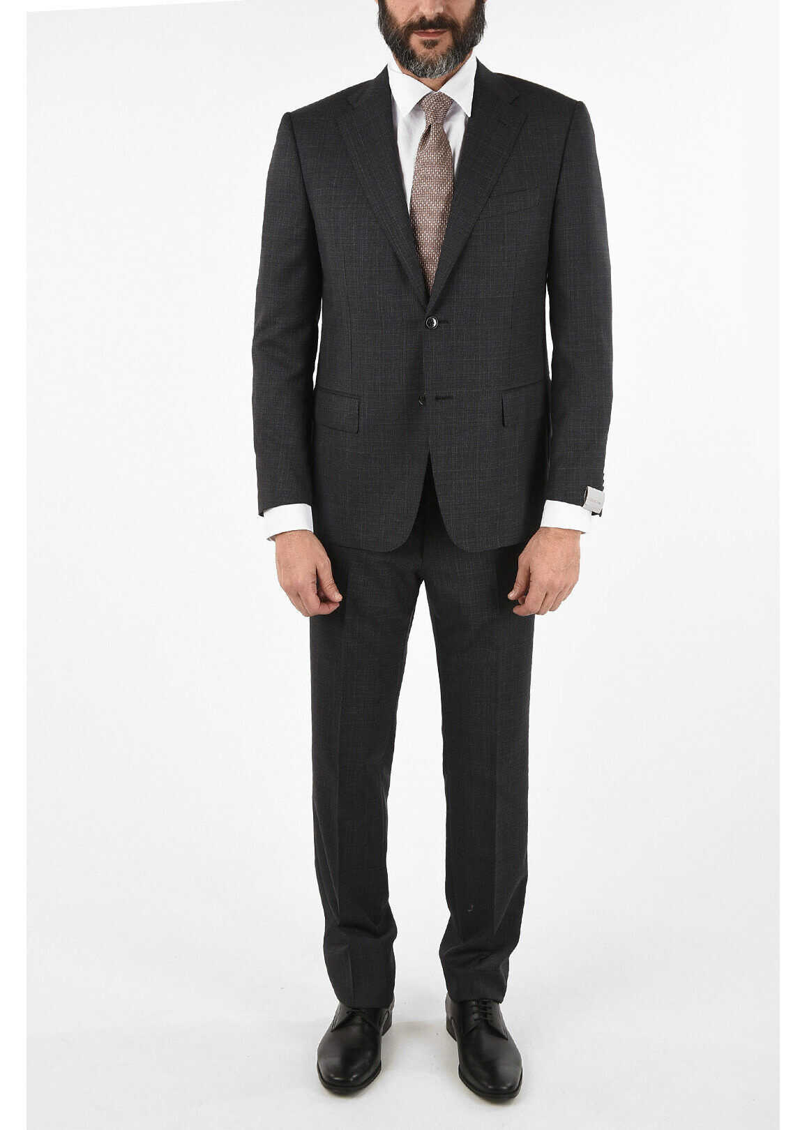 CORNELIANI side vent check drop 6R 2-button MANTUA suit GRAY imagine