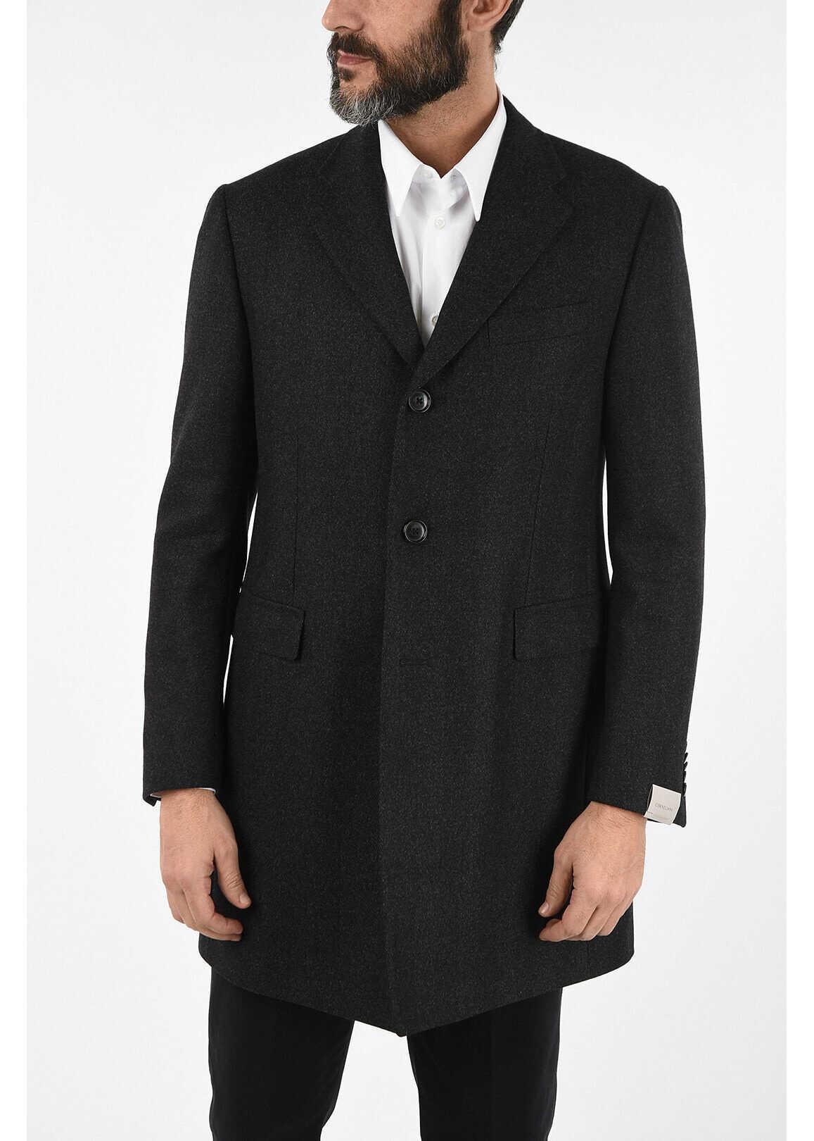 CORNELIANI three-quarter length 3-button chesterfield coat GRAY imagine