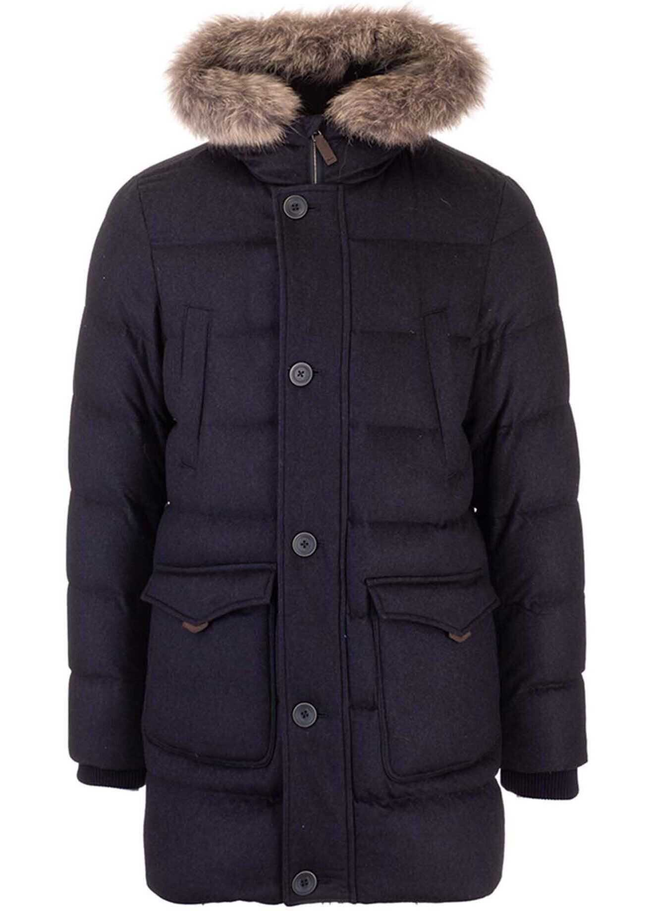 Herno Hooded Down Jacket In Blue Blue imagine