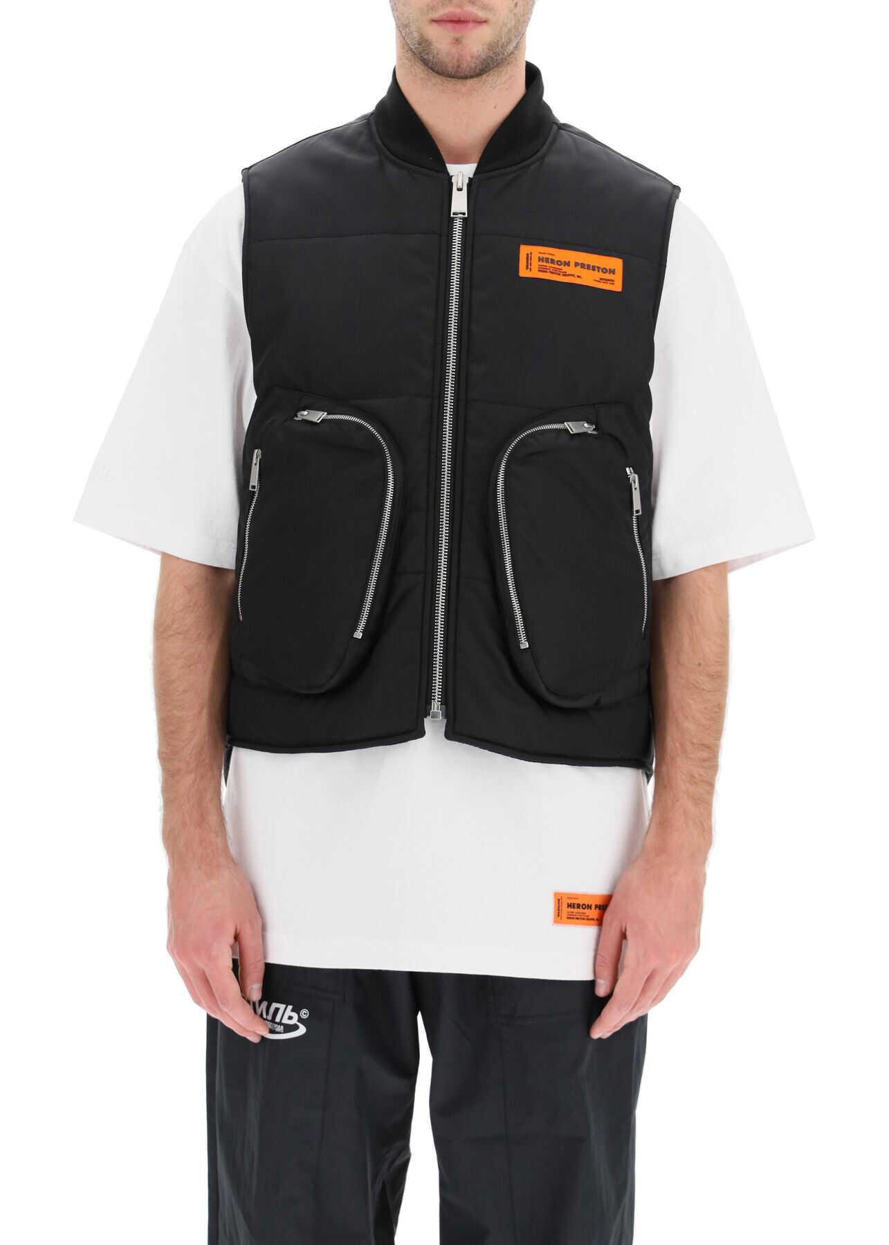 Heron Preston Padded Vest With Pockets BLACK imagine