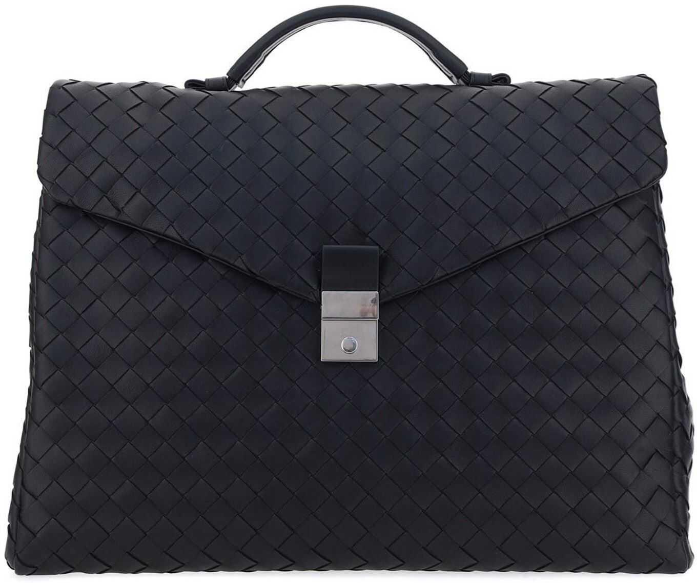 Bottega Veneta Intrecciato Nappa Briefcase 630239 VCRL2 8803 Black imagine b-mall.ro