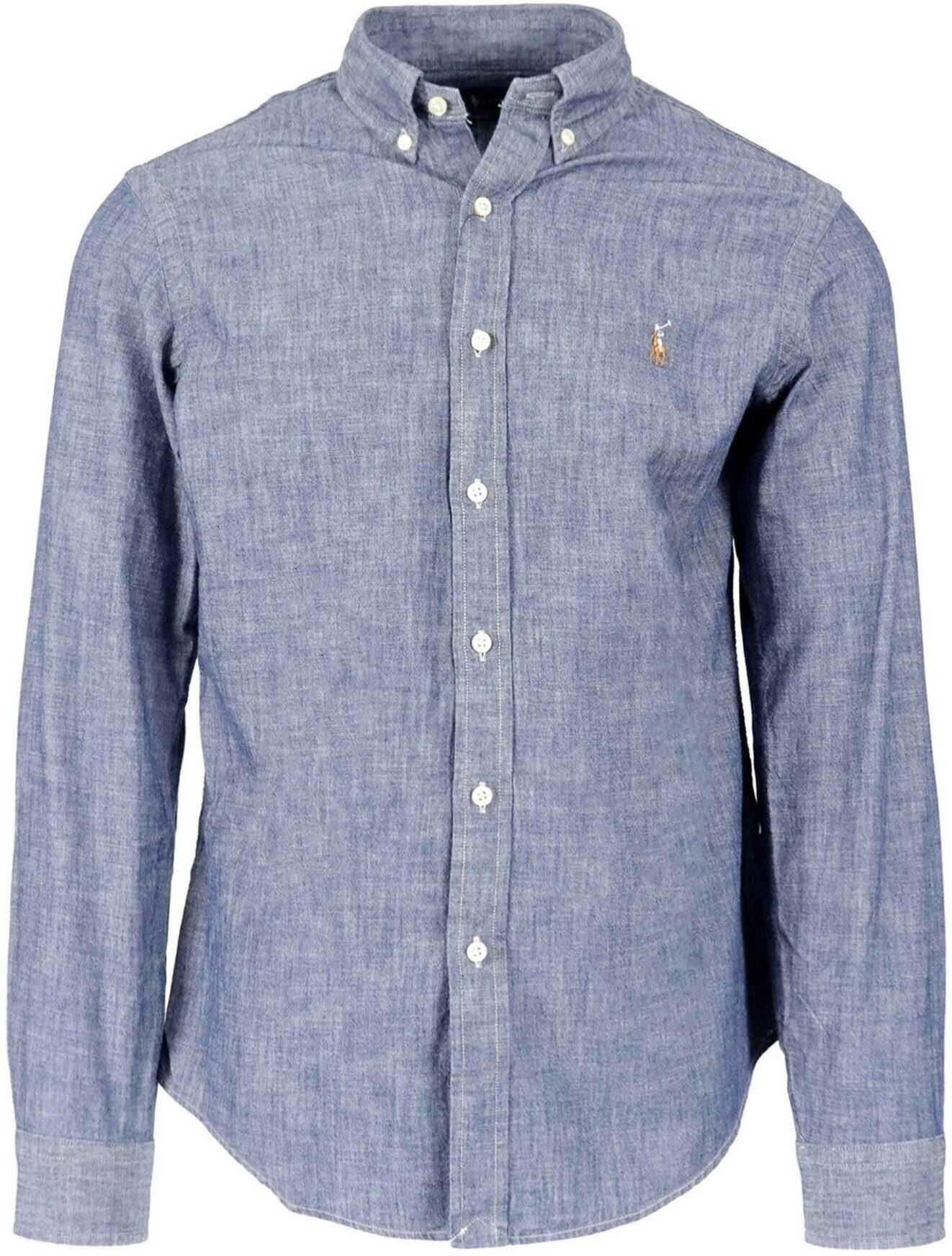 Ralph Lauren Denim Effect Cotton Shirt Light Blue imagine