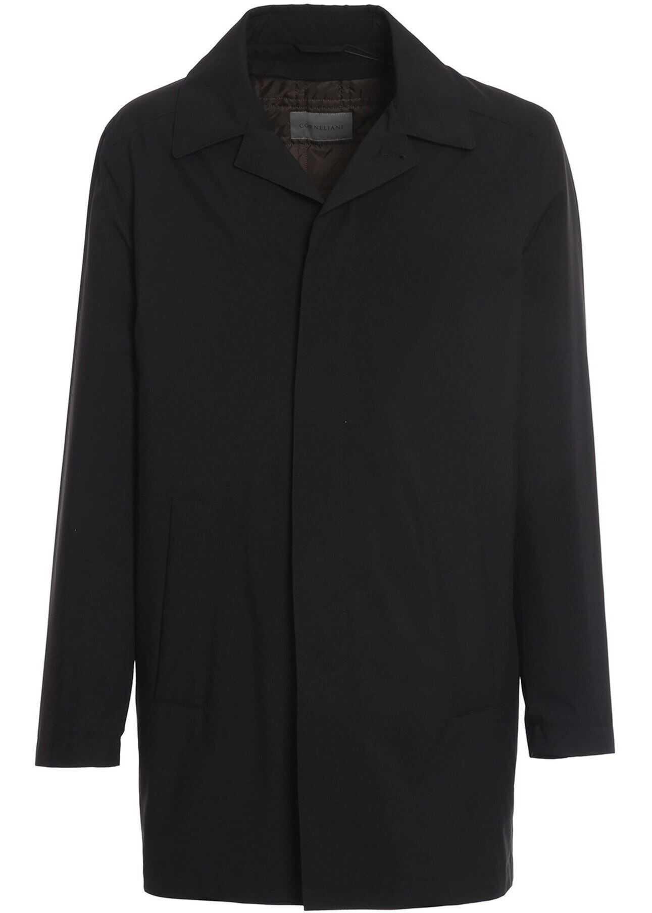 CORNELIANI Tech Fabric Raincoat Black imagine