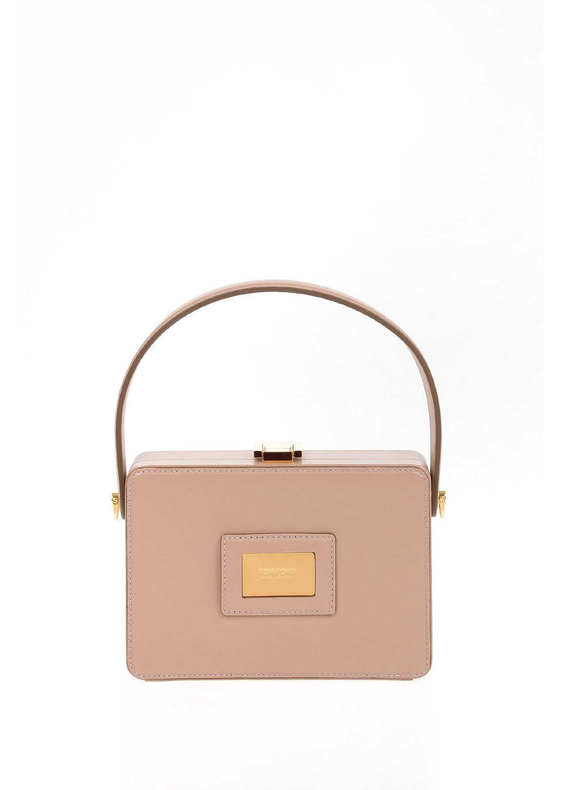 Tom Ford leather FLESH Mini Bag with Removable Shoulder Strap PINK imagine b-mall.ro