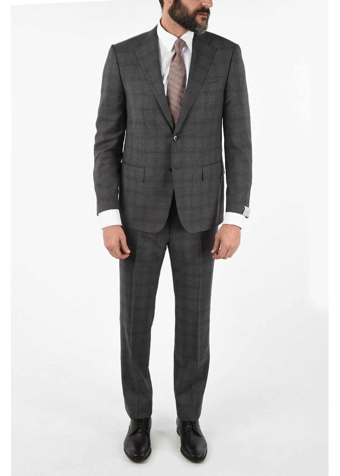 Tone-on-tone check side vent drop 6R 2-button MANTUA suit