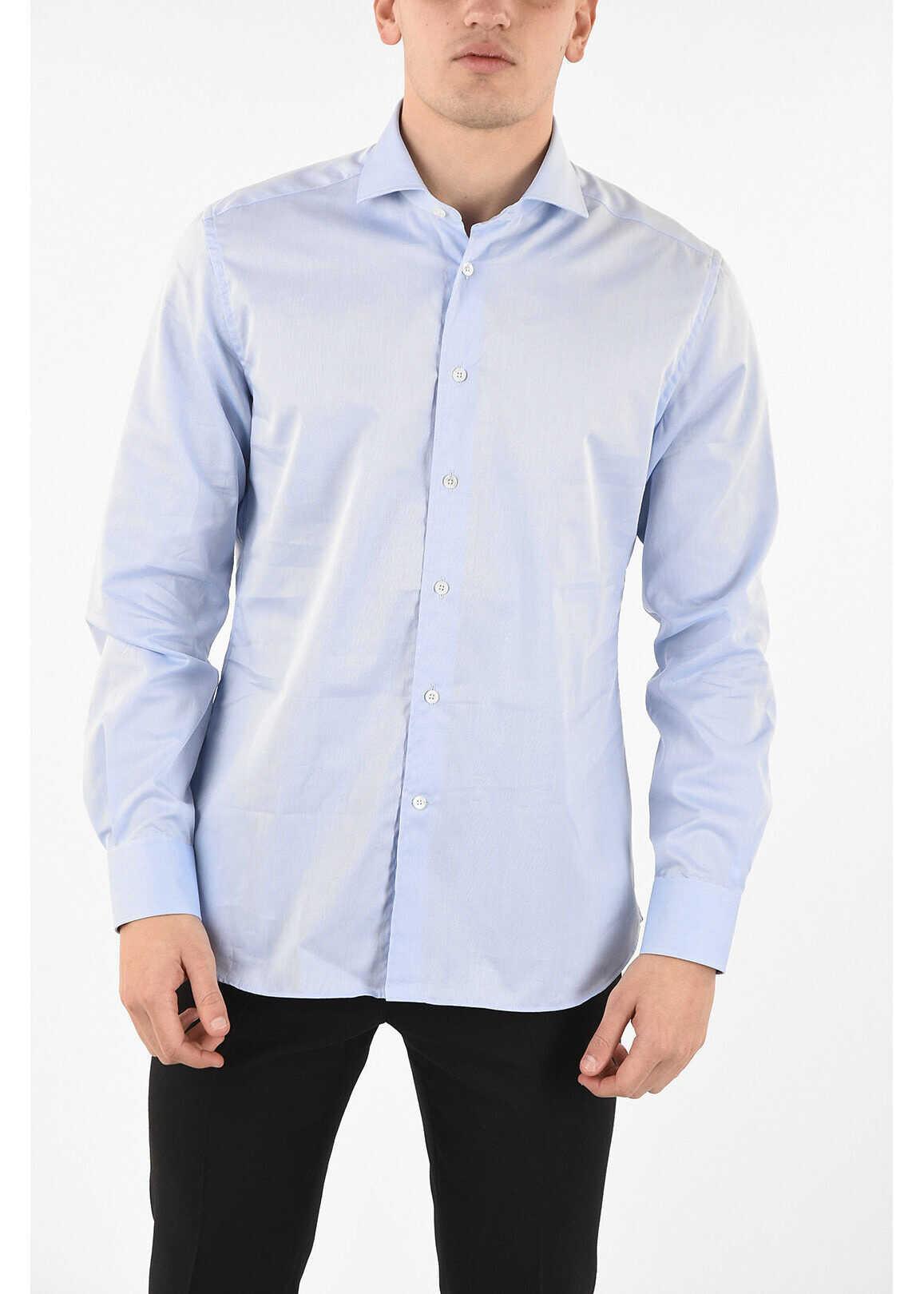 CORNELIANI popeline spread collar shirt LIGHT BLUE imagine