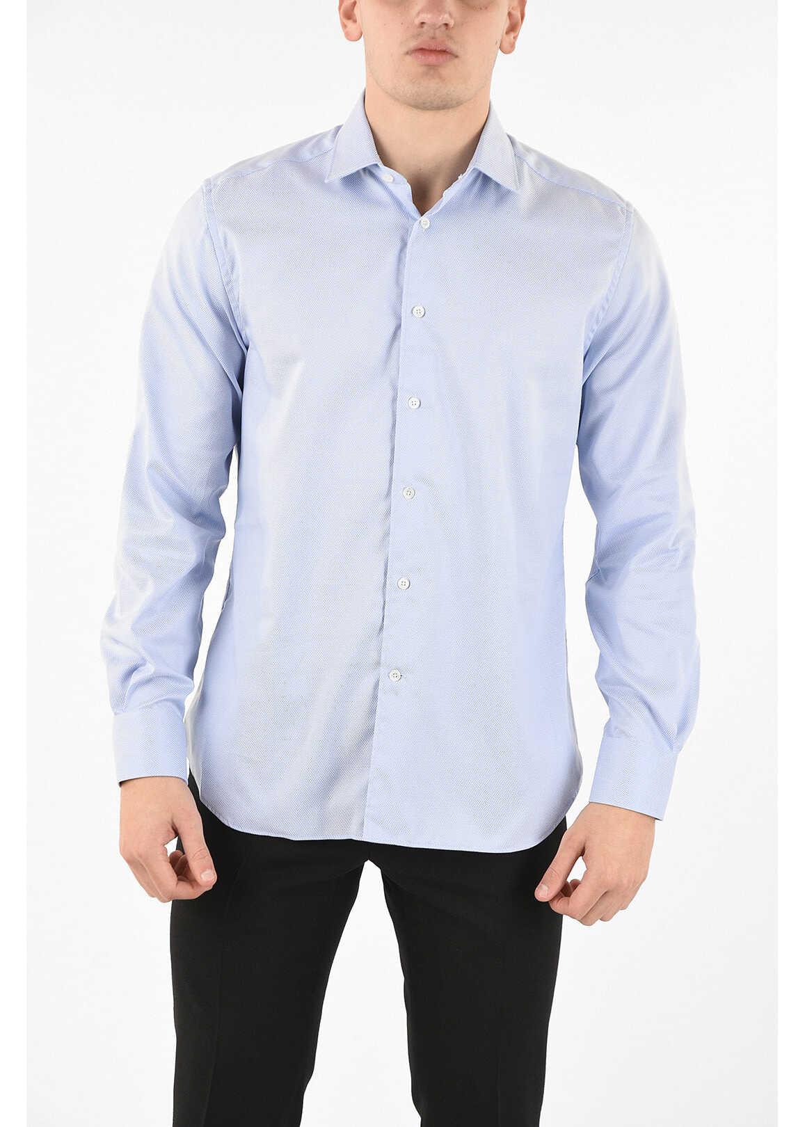 CORNELIANI pin point spread collar shirt LIGHT BLUE imagine