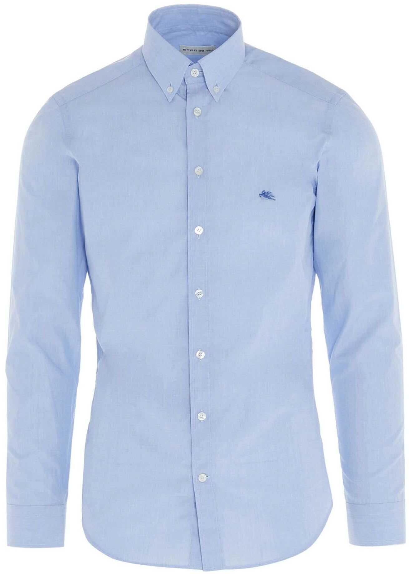 ETRO Logo Embroidered Shirt In Light Blue Light Blue imagine