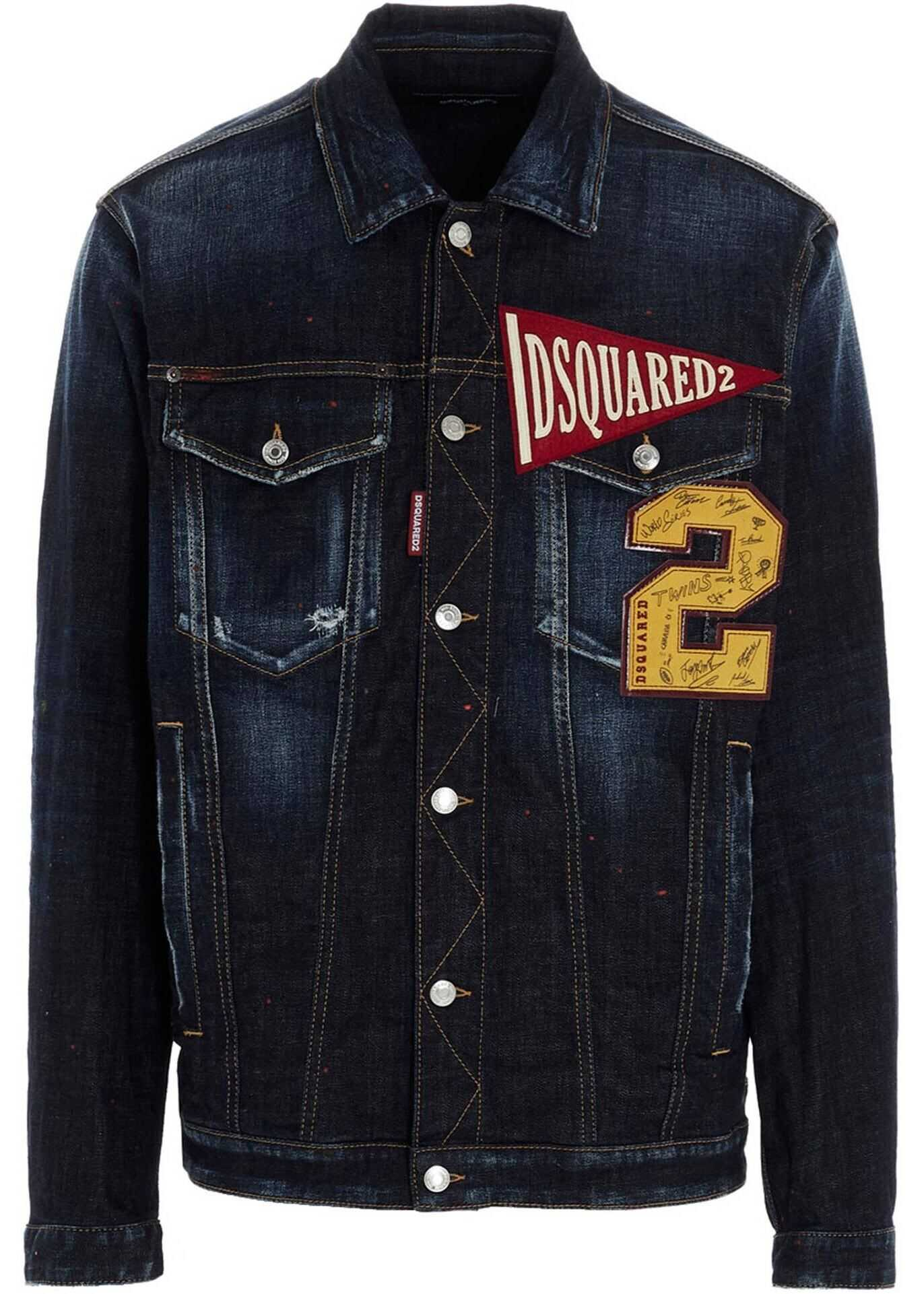 DSQUARED2 Over Denim Jacket In Dark Blue Blue imagine