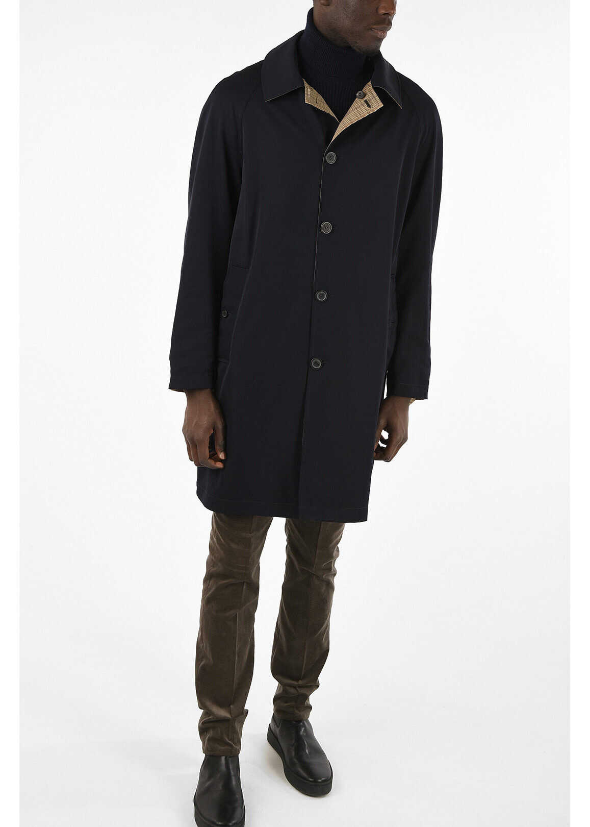 Lanvin Reversible Single Breasted Trench BLUE imagine