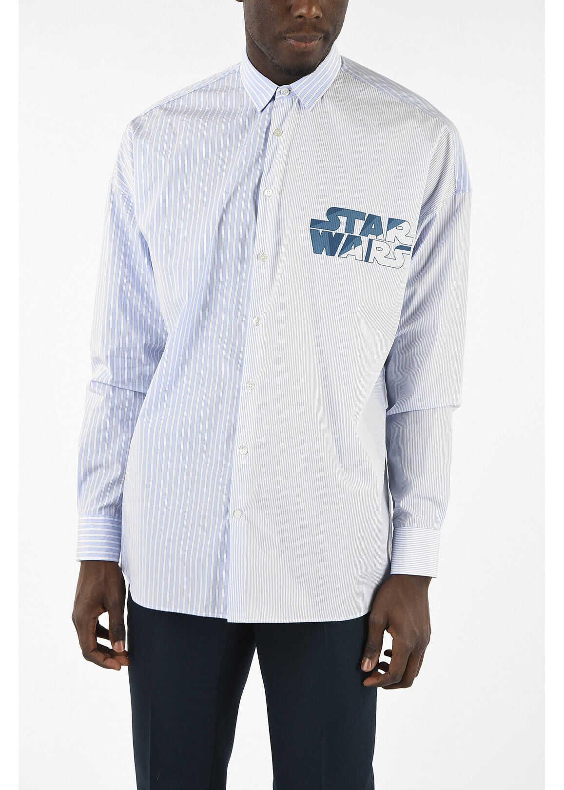 ETRO STAR WARS Bengal Striped Shirt with Print LIGHT BLUE imagine