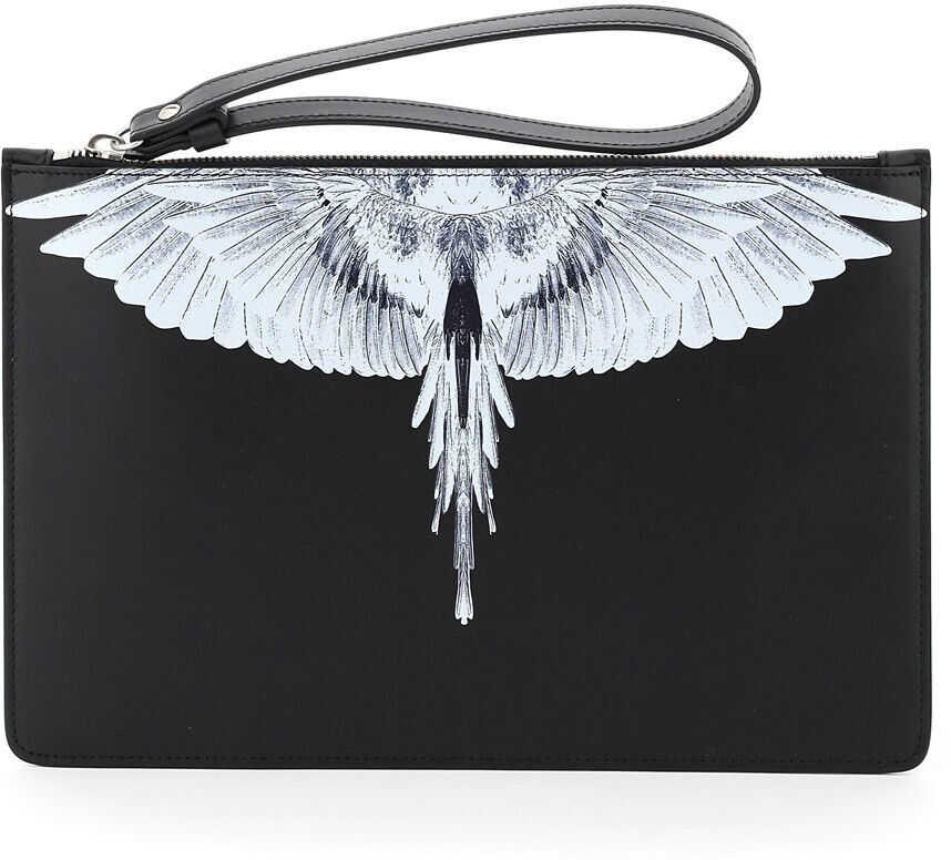 Marcelo Burlon Pouch With Wings Print CMNP001R21LEA001 BLACK WHITE imagine b-mall.ro