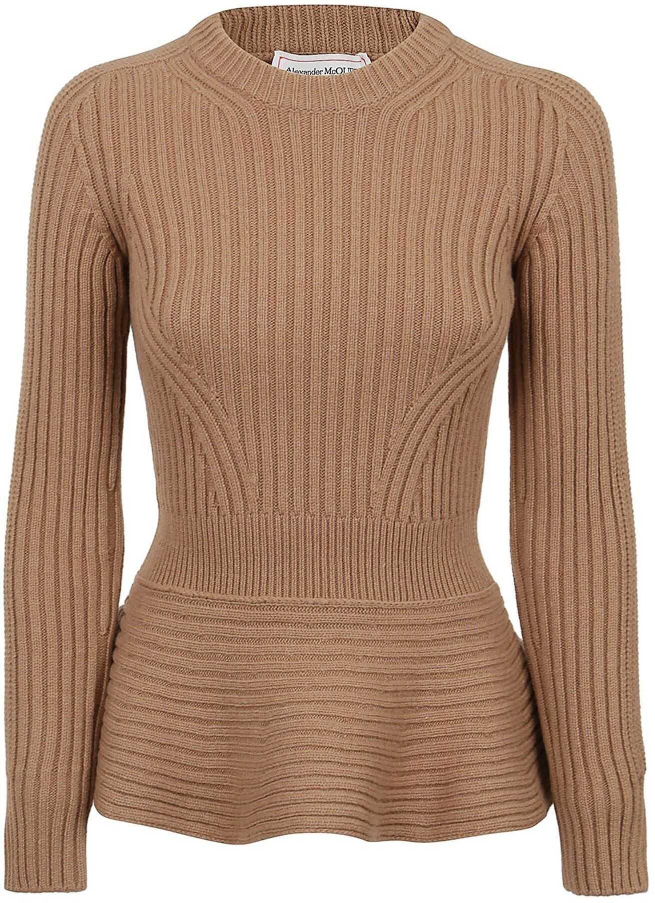 Alexander McQueen Cashmere Wool Blend Crewneck Sweater* Camel