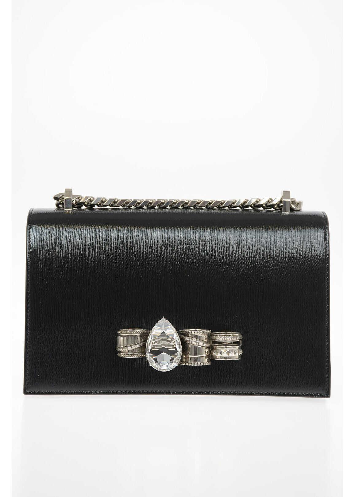 Alexander McQueen Leather FOUR RING Shoulder Bag BLACK imagine b-mall.ro