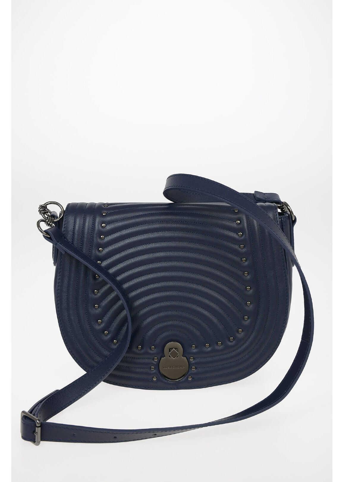 Longchamp Studded Leather Saddle Bag with Adjustable Shoulder Strap BLUE imagine b-mall.ro