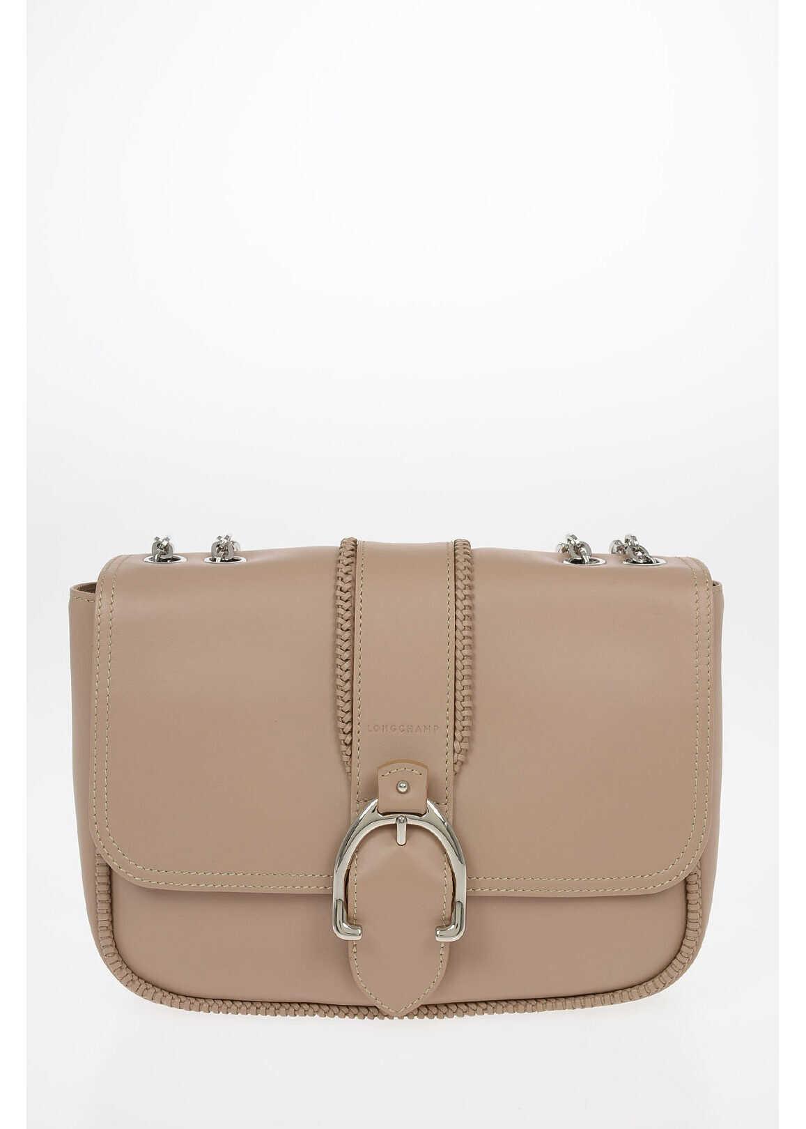 Longchamp Leather Saddle Bag With Adjustable Shoulder Strap BEIGE imagine b-mall.ro