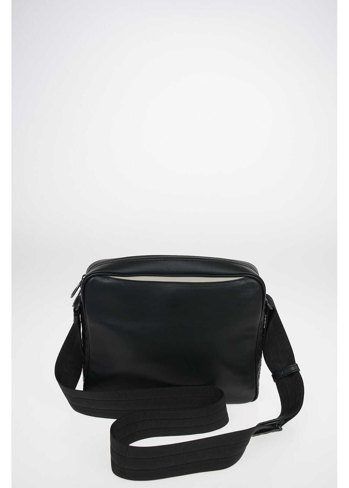 Bottega Veneta Leather Shoulder Briefcase with Magnet Pocket Closure BLACK imagine b-mall.ro
