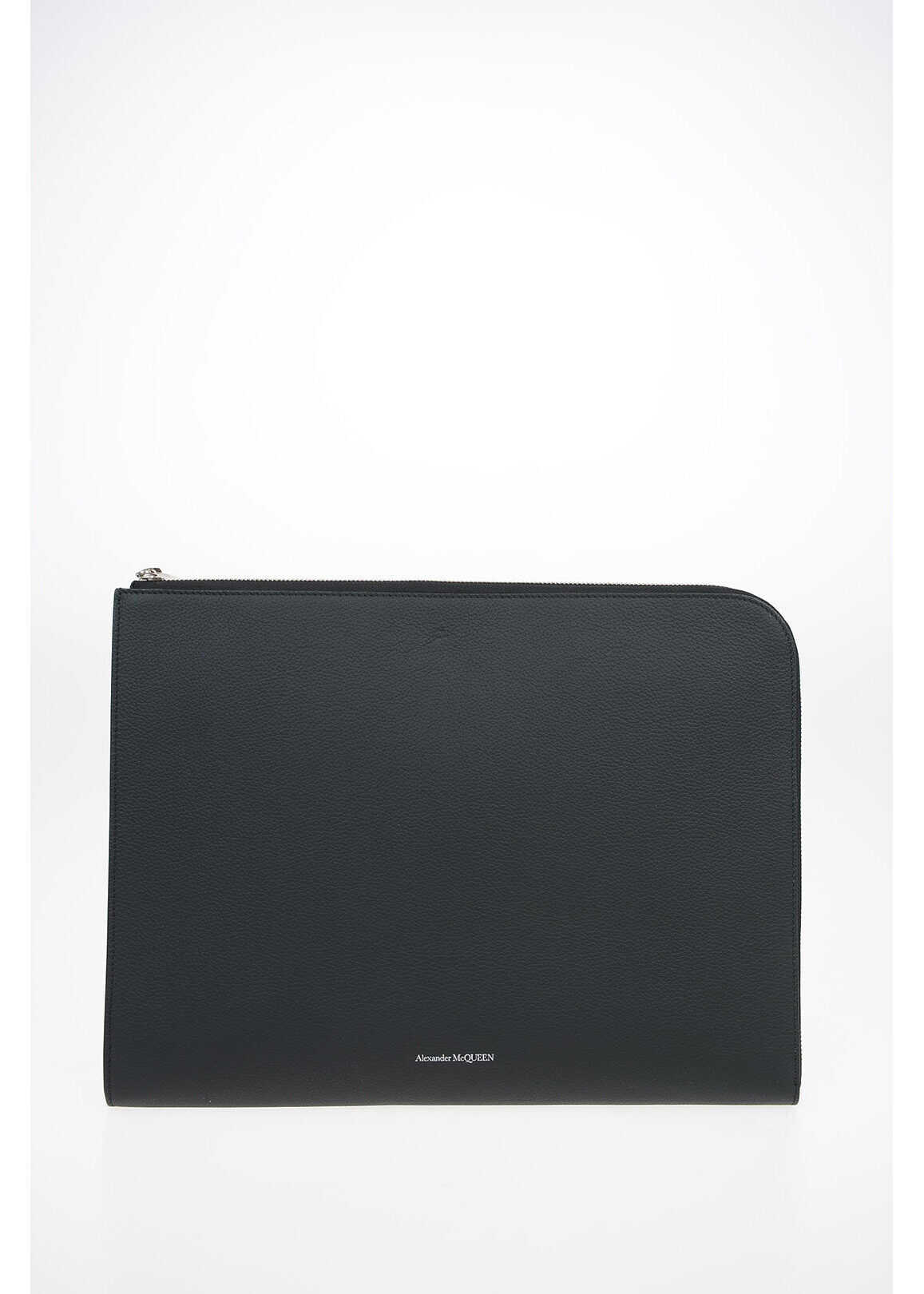 Alexander McQueen Textured Leather Briefcase with Zip Closure BLACK imagine b-mall.ro
