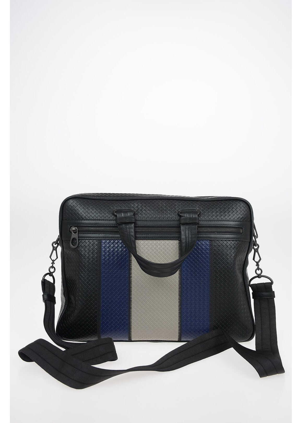 Bottega Veneta Braided Leather Business bag BLACK imagine b-mall.ro