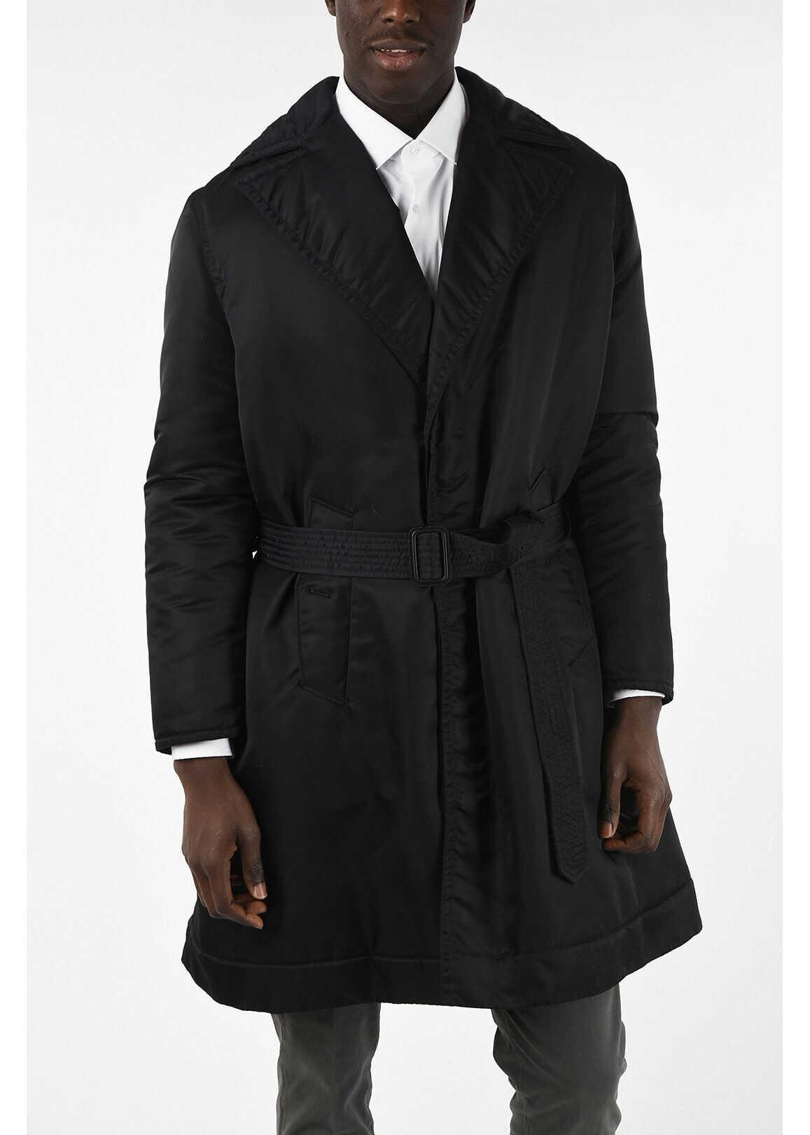 Calvin Klein 205W39NYC Shell Coat with belt BLACK imagine