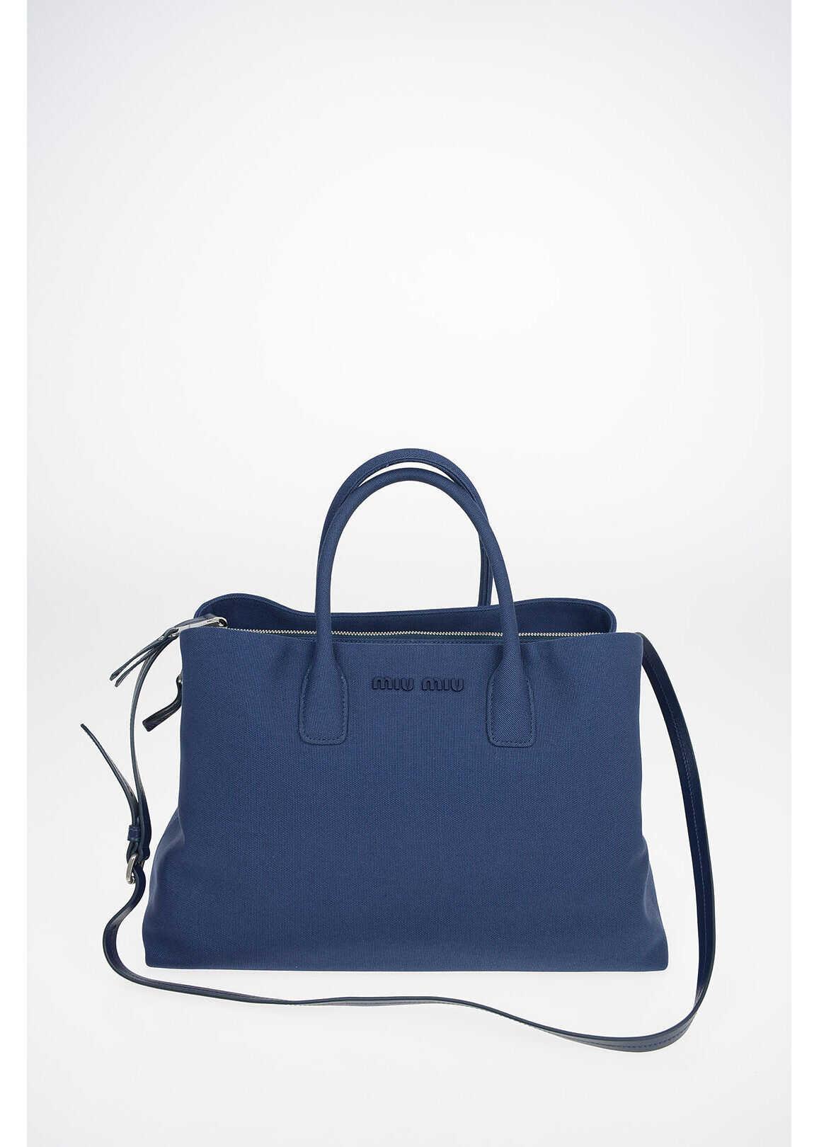 Miu Miu Canvas Tote Bag With Removable Shoulder Strap BLUE imagine b-mall.ro