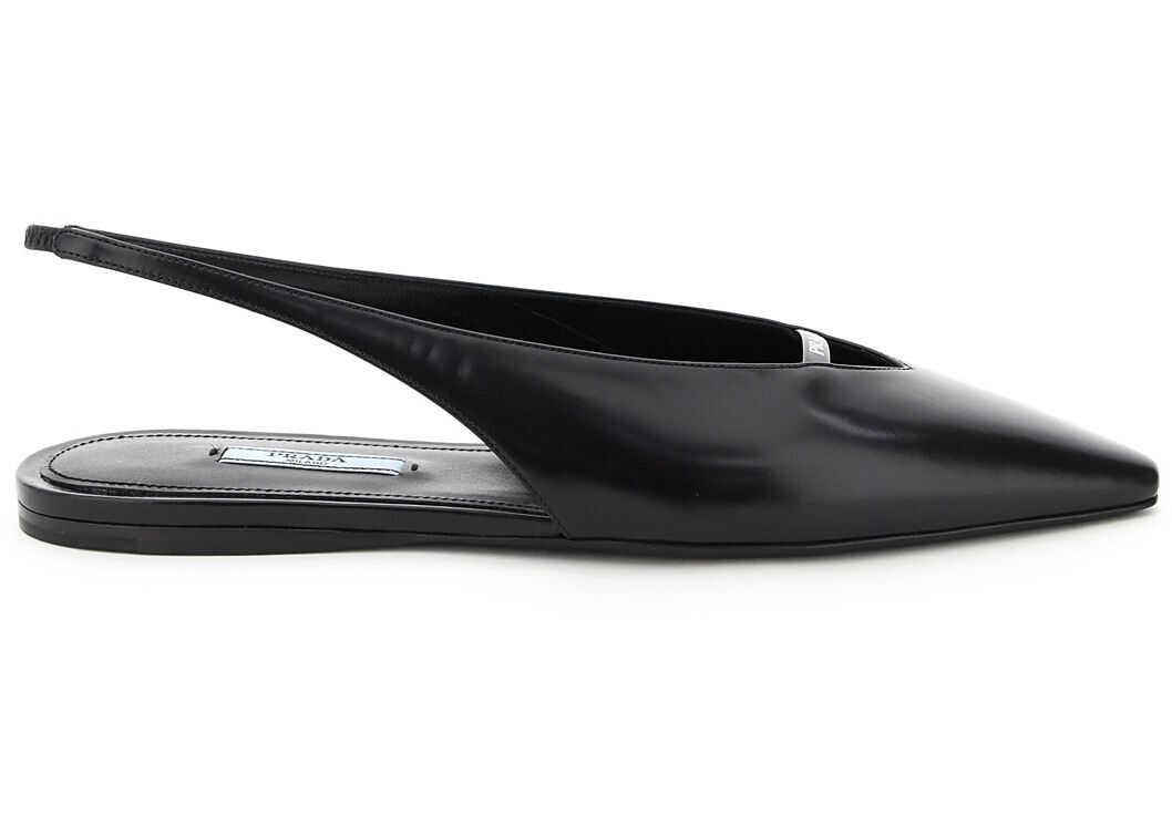 Prada Leather Slingback Flats 1F516M 055 NERO imagine b-mall.ro