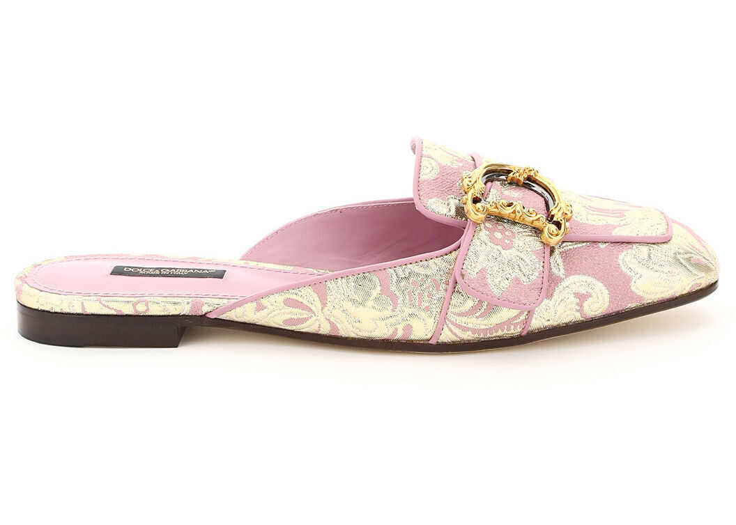Dolce & Gabbana Jackie Mules In Dg Brocade CI0130 AW166 ROSA imagine b-mall.ro
