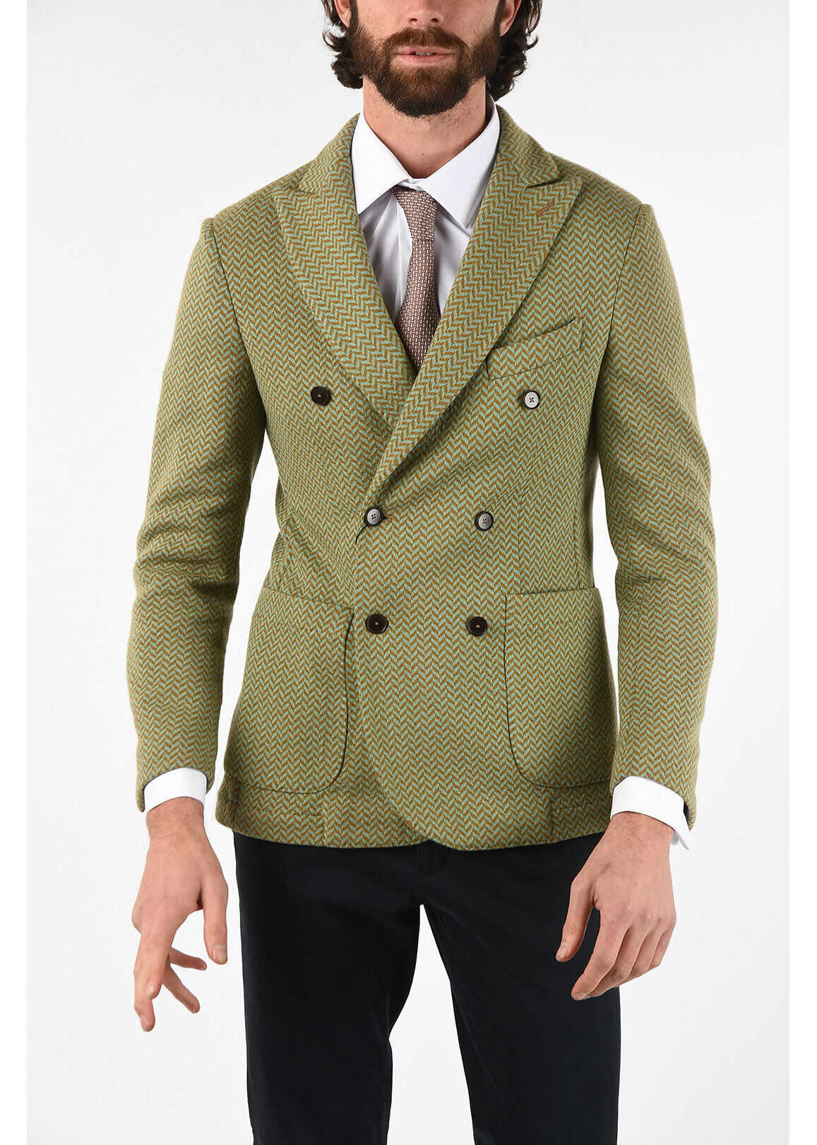 CORNELIANI CC COLLECTION drop 8R side vents dWOLLY 6 ouble-breasted bla GREEN imagine