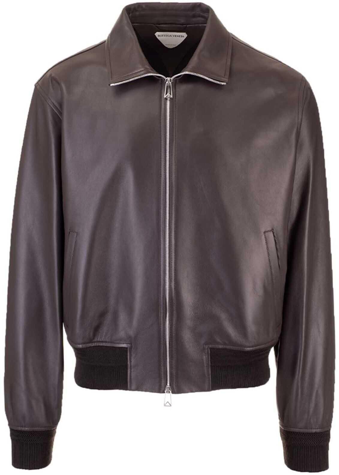 Bottega Veneta Leather Bomber In Brown Brown imagine